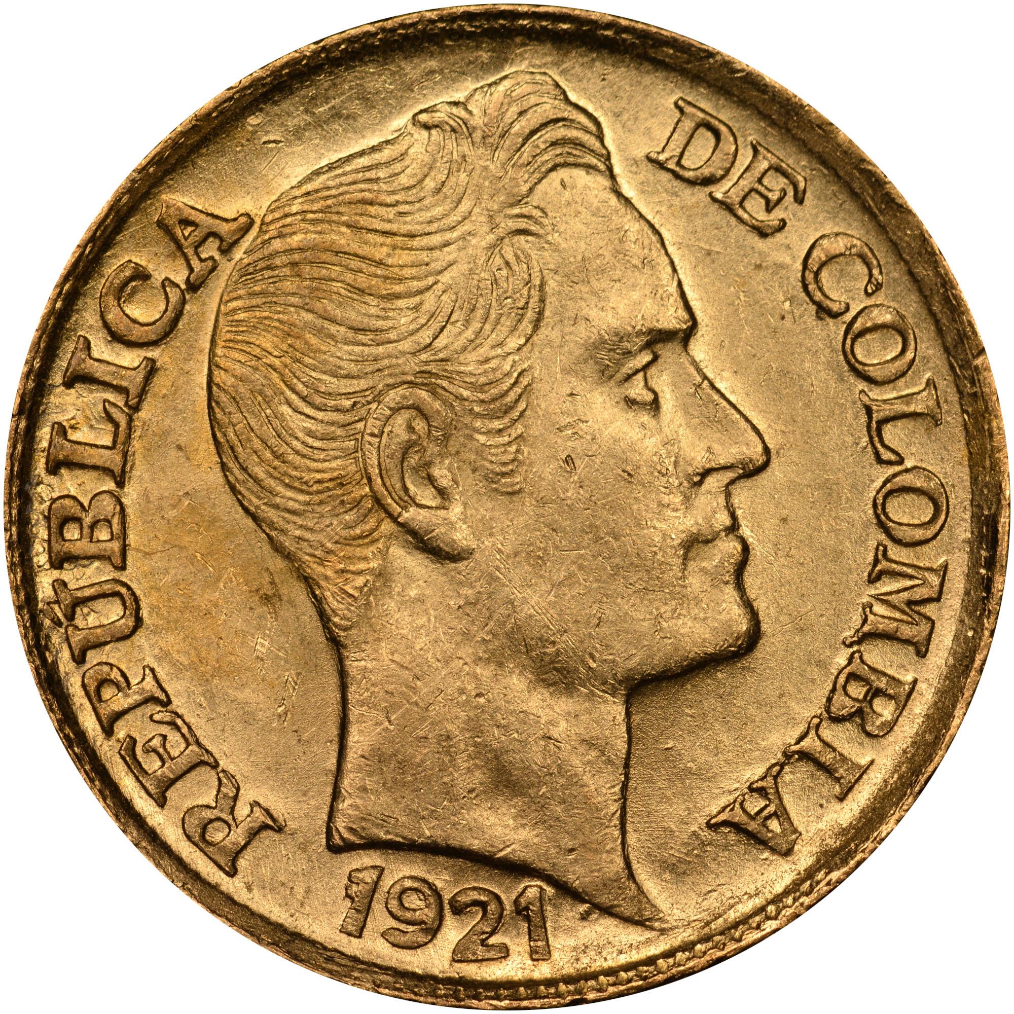 1919-1924 Colombia 5 Pesos obverse