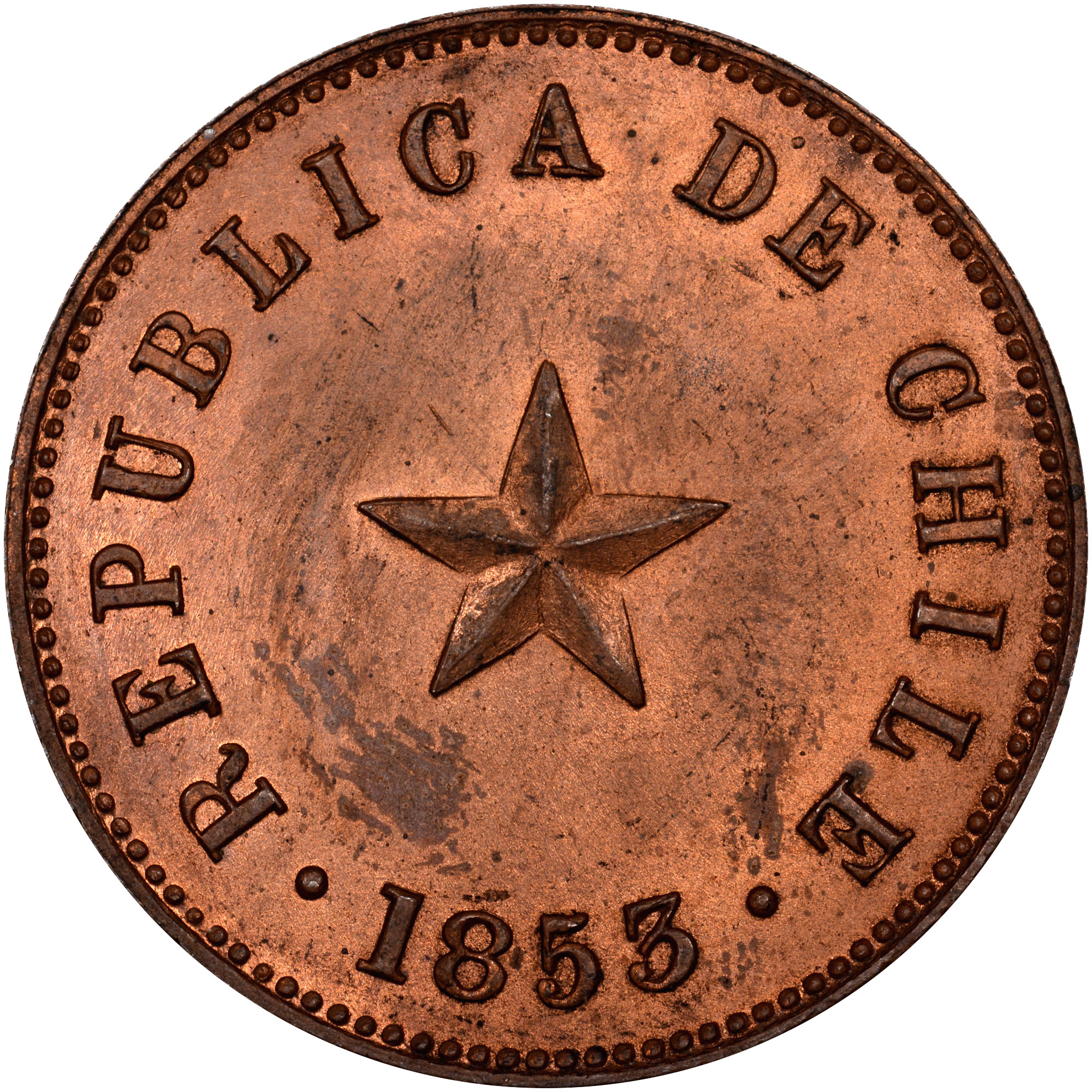1853 Chile 1/2 Centavo obverse
