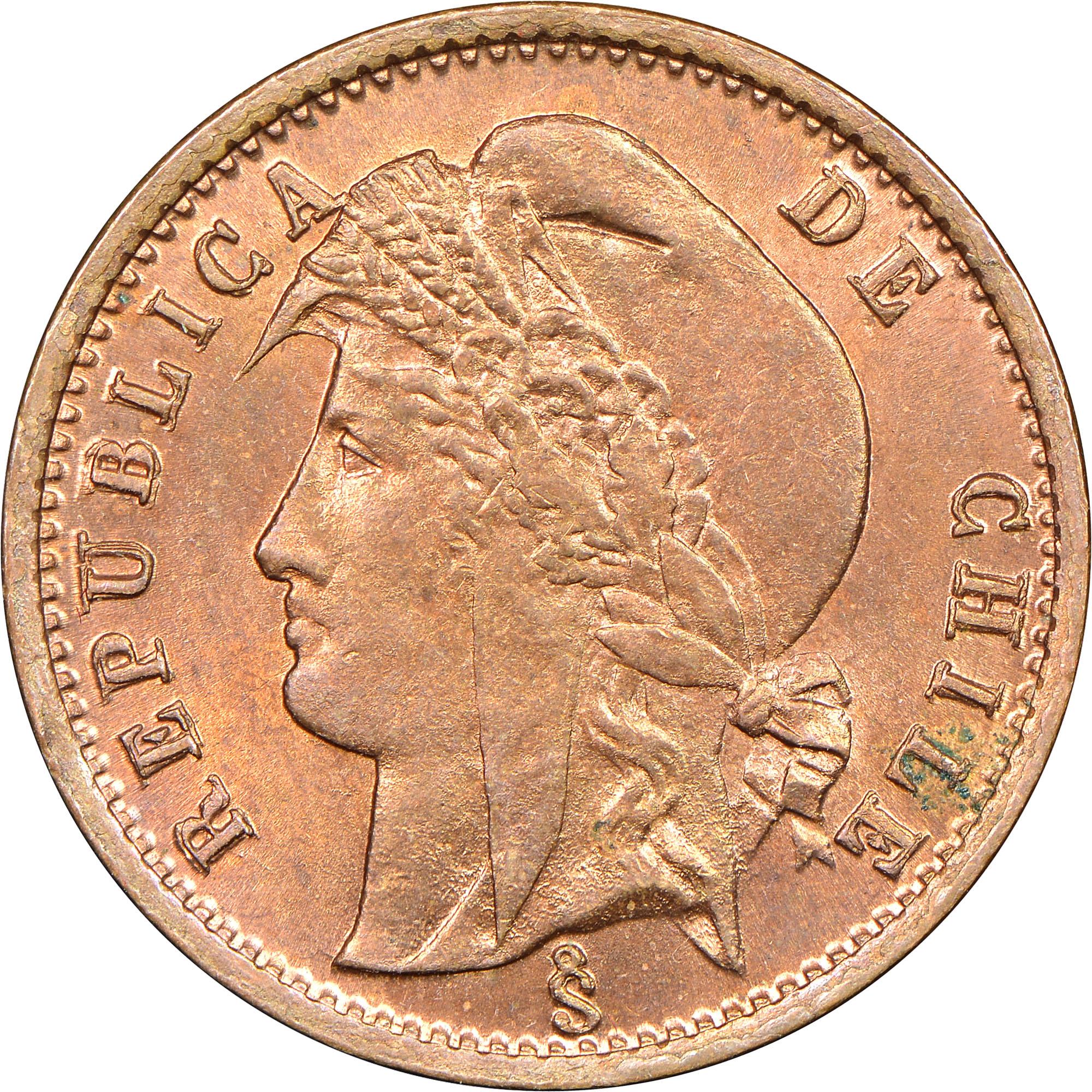 1883-1894 Chile 1/2 Centavo obverse