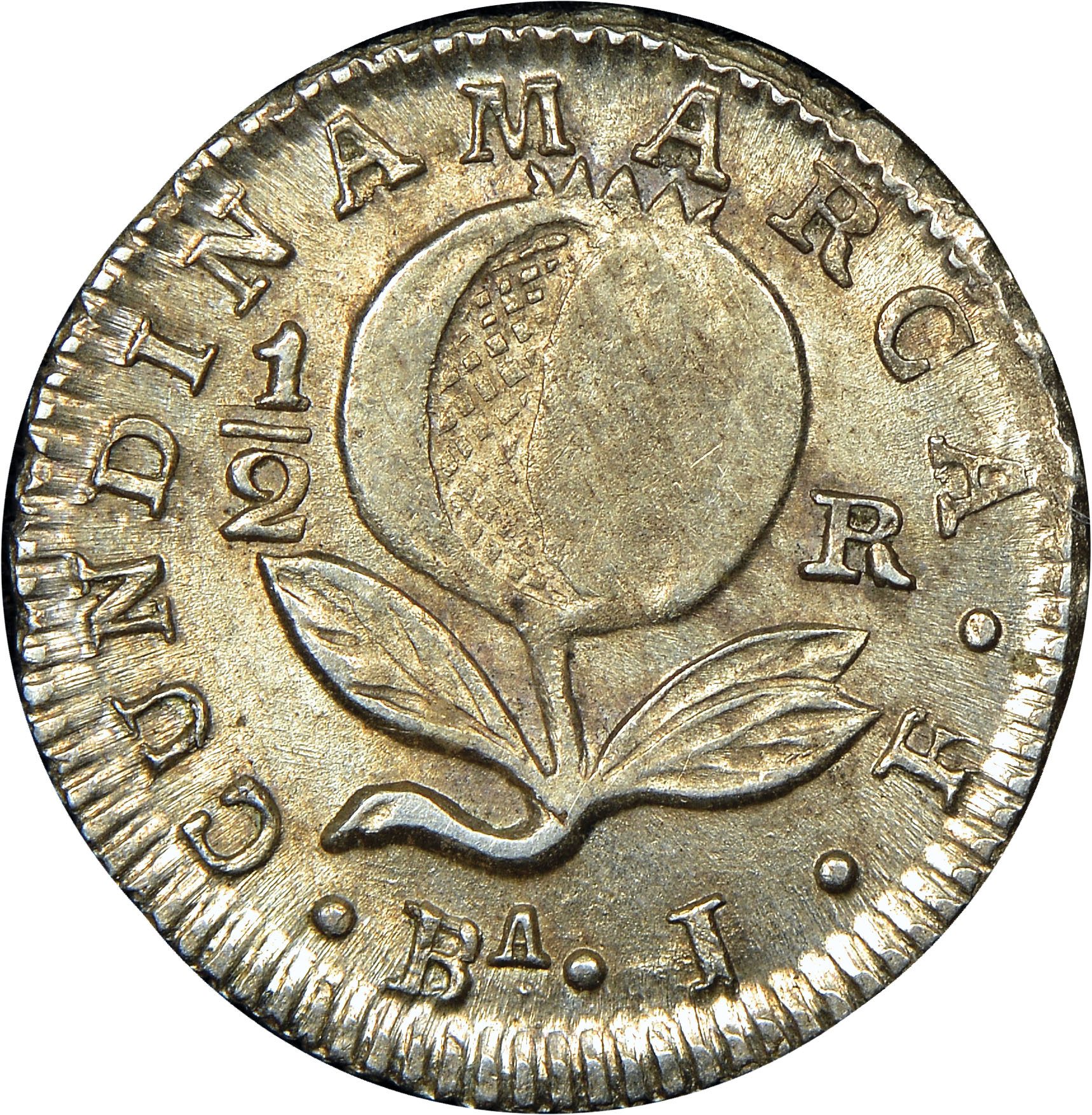 1821 Colombia 1/2 Real reverse
