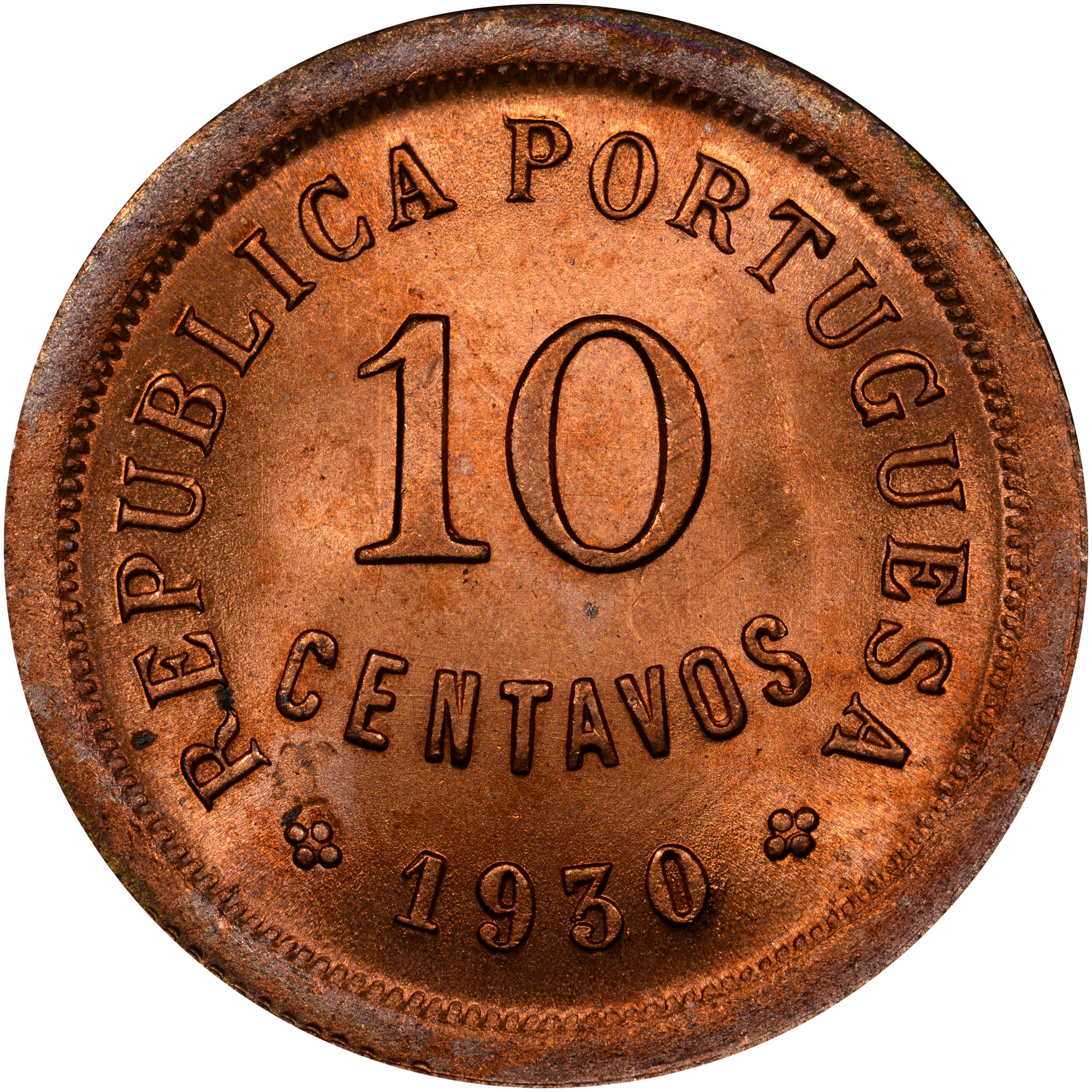 1930 Cape Verde 10 Centavos obverse