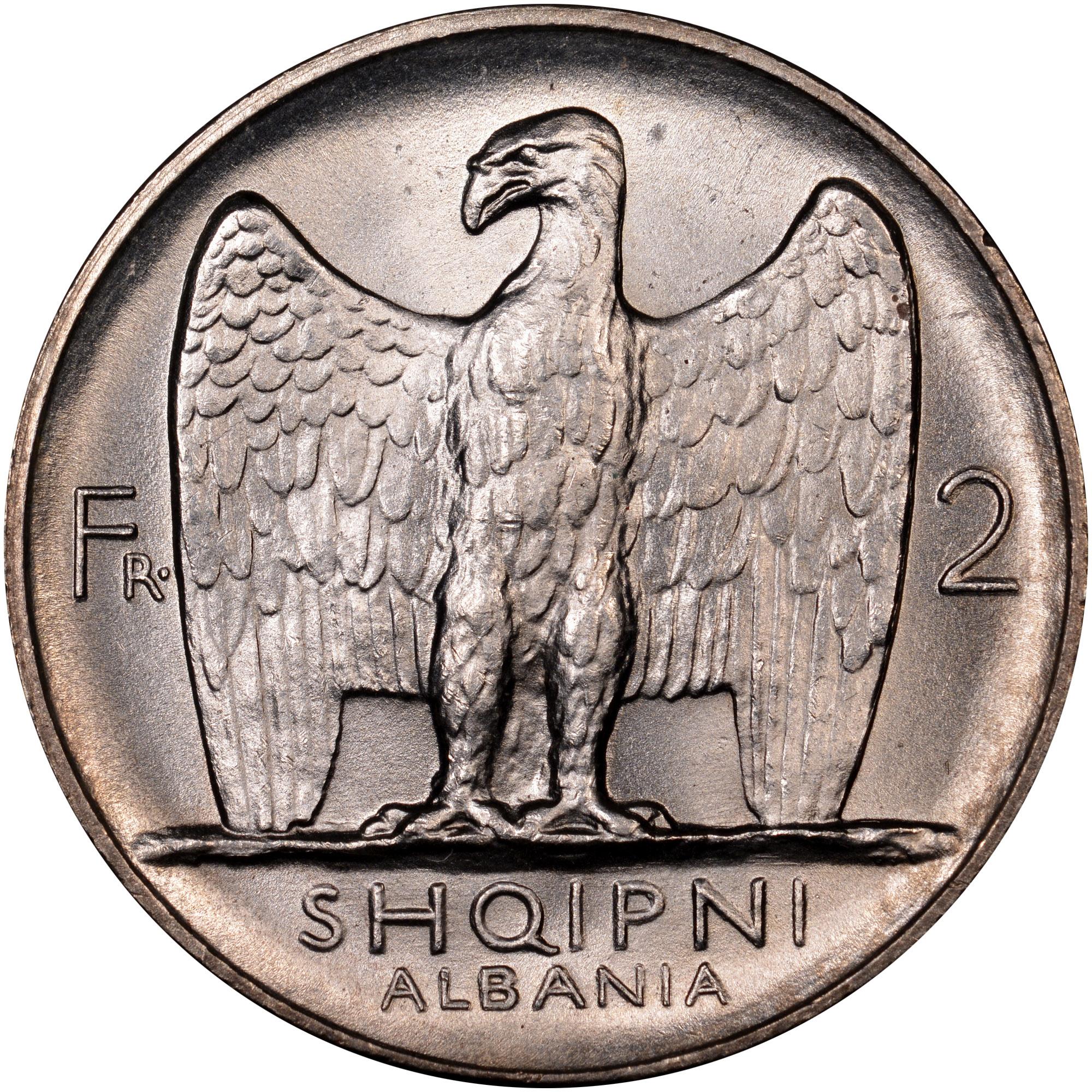 1926 Albania 2 Franga Ari reverse