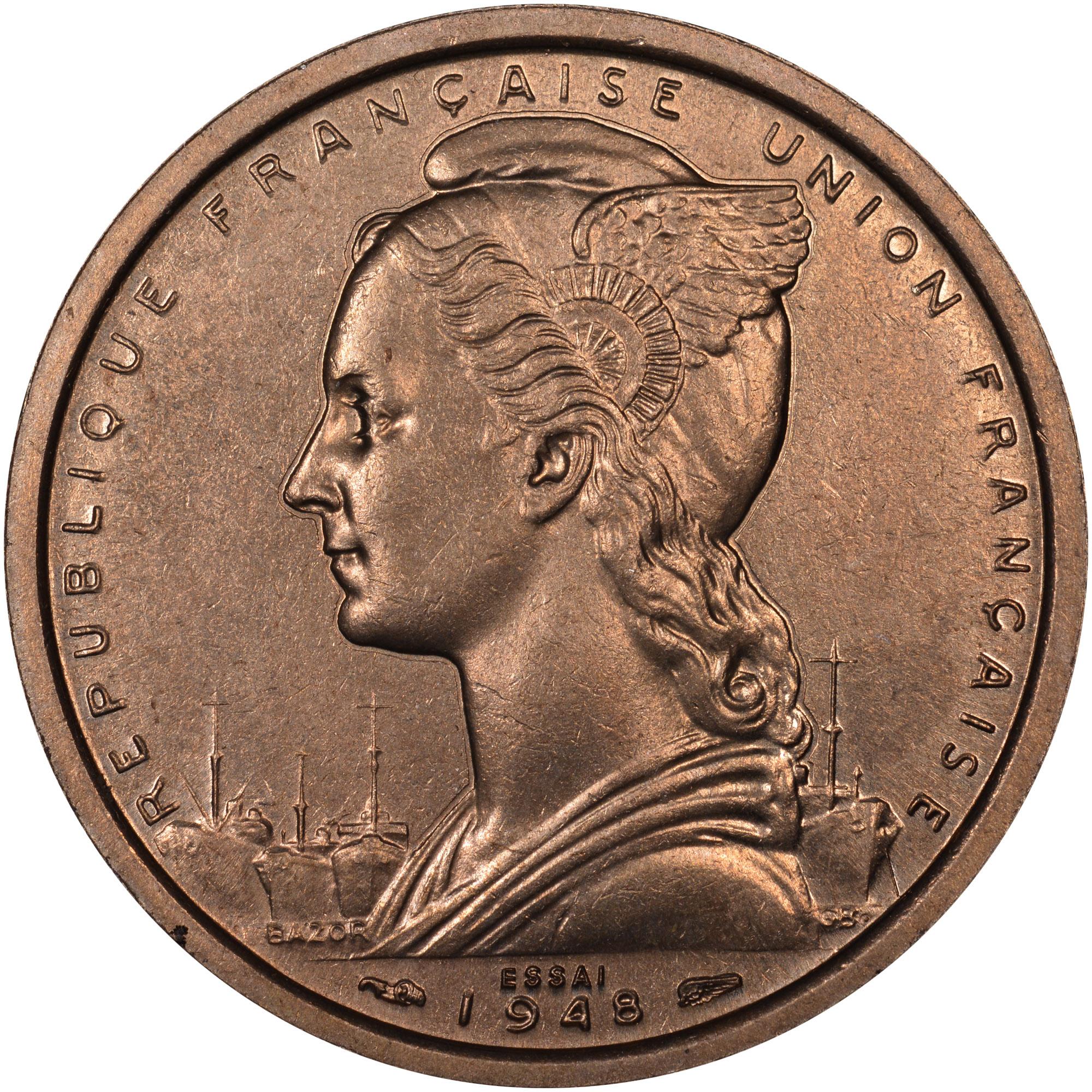 1948 Cameroon 2 Francs obverse