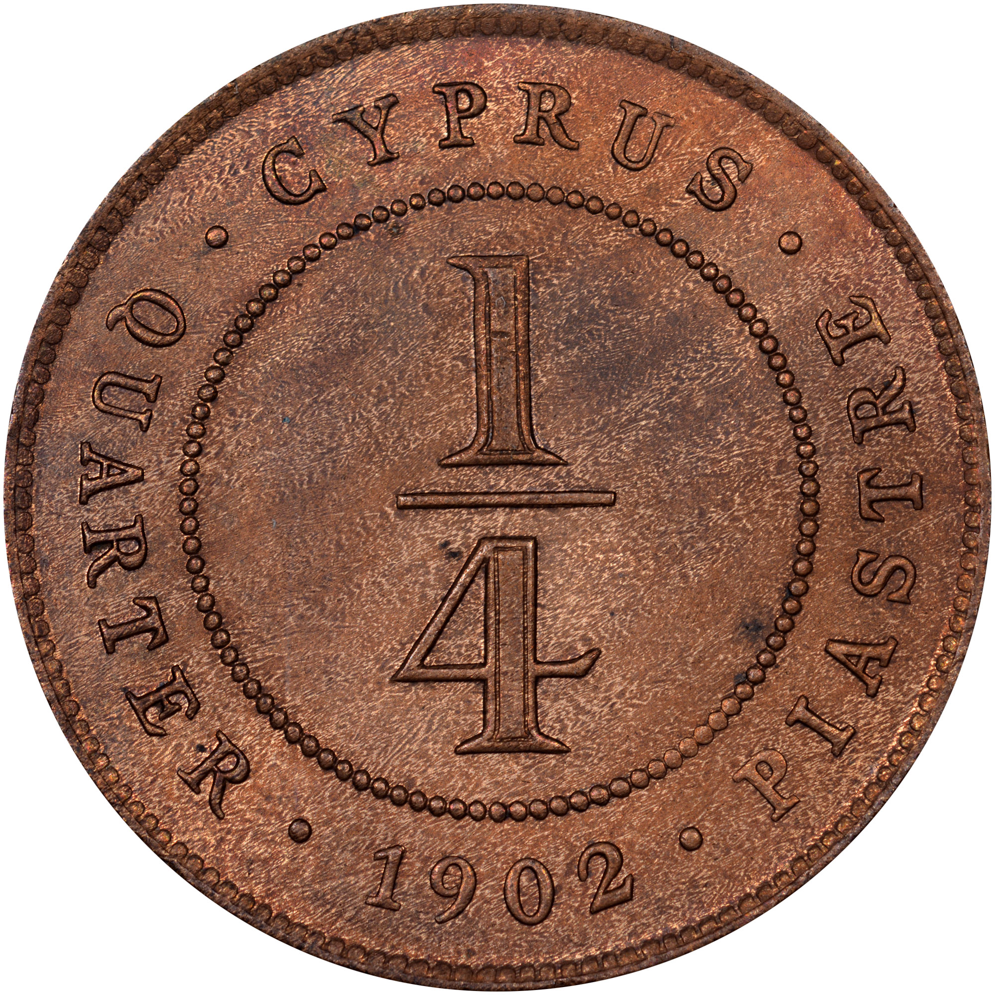 1902-1908 Cyprus 1/4 Piastre reverse