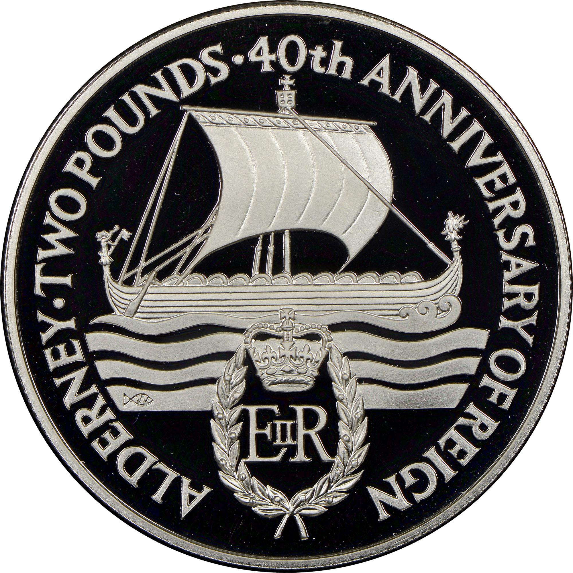 1992 Alderney 2 Pounds reverse