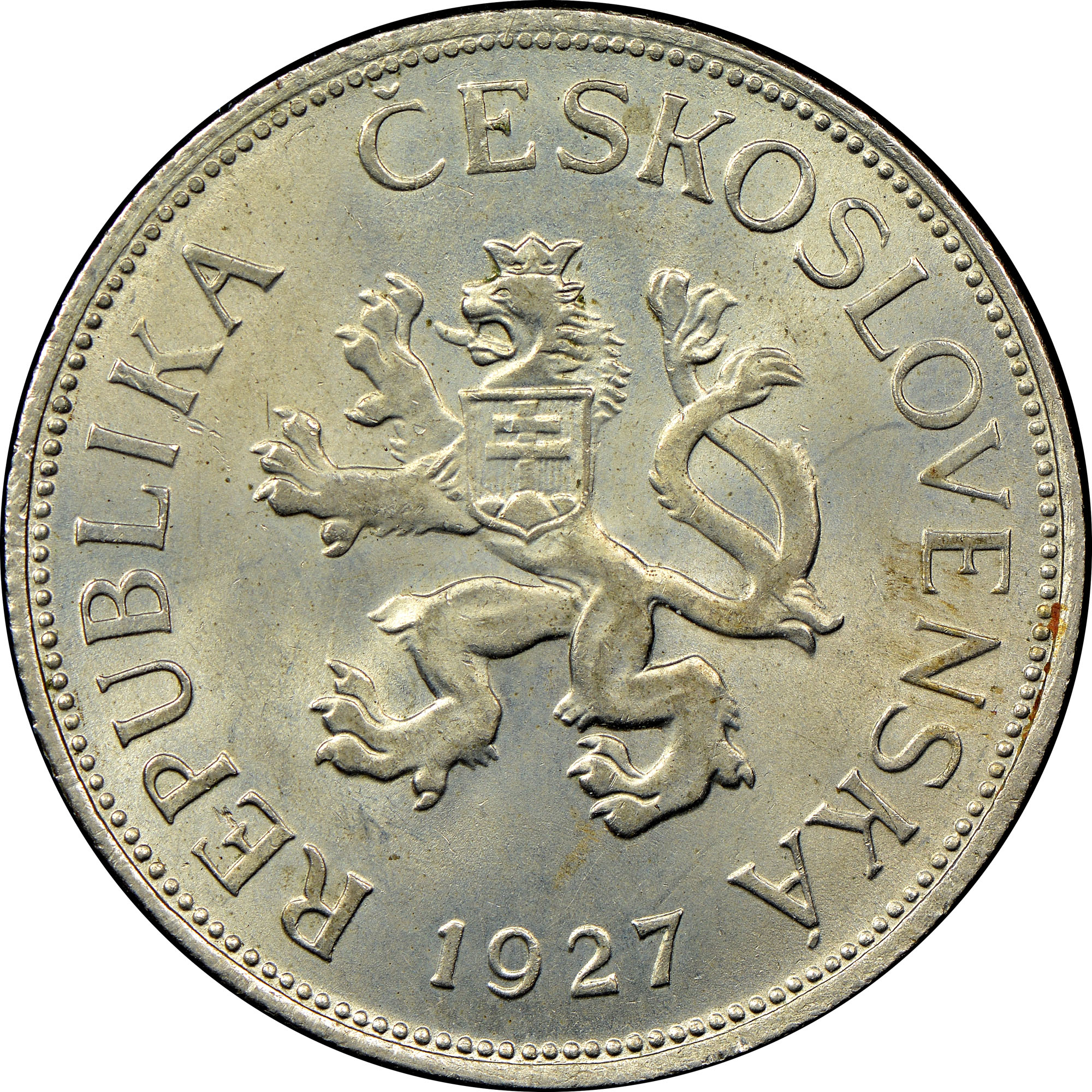 1925-1927 Czechoslovakia 5 Korun obverse