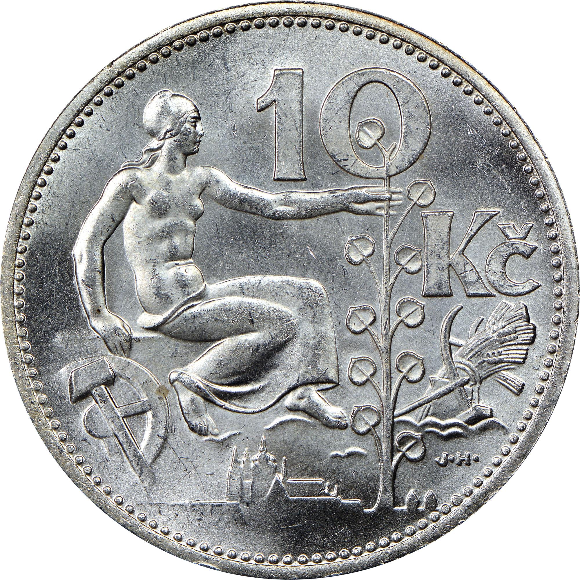 1930-1933 Czechoslovakia 10 Korun reverse