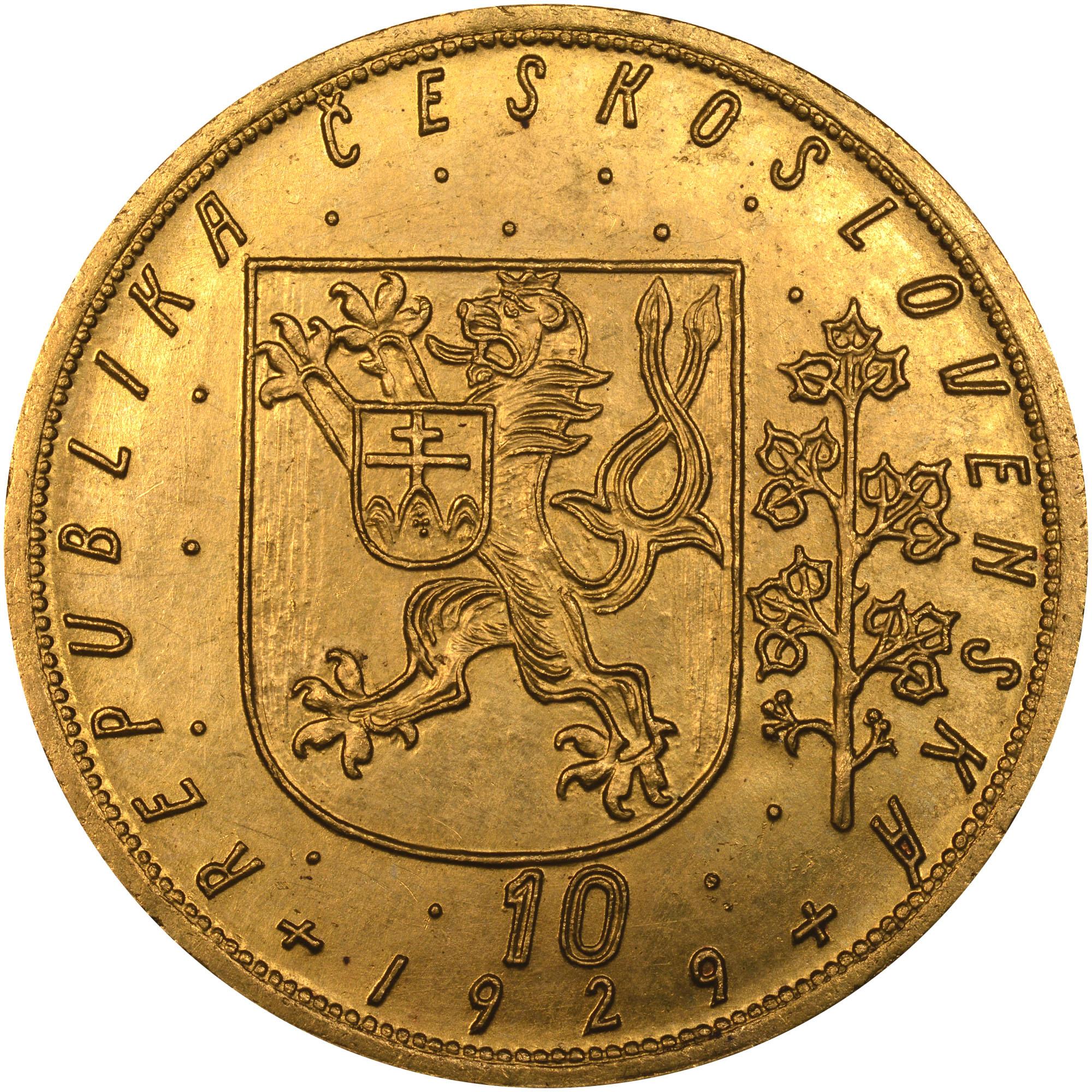 1929-1951 Czechoslovakia 10 Dukatu obverse