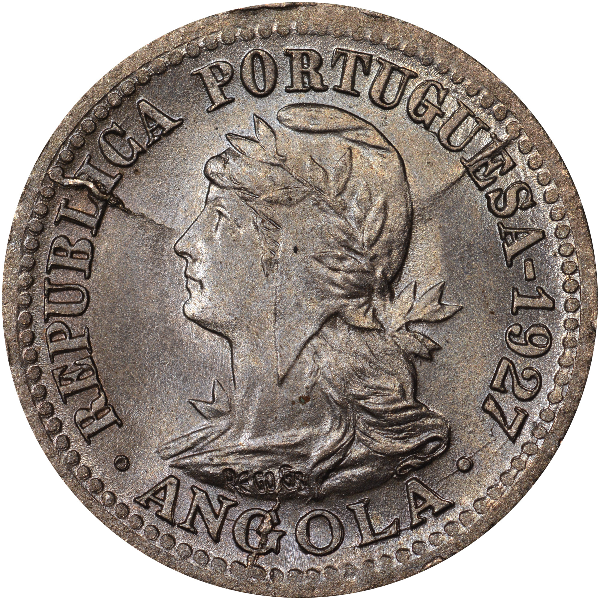 1927 Angola 5 Centavos, 1 Macuta obverse