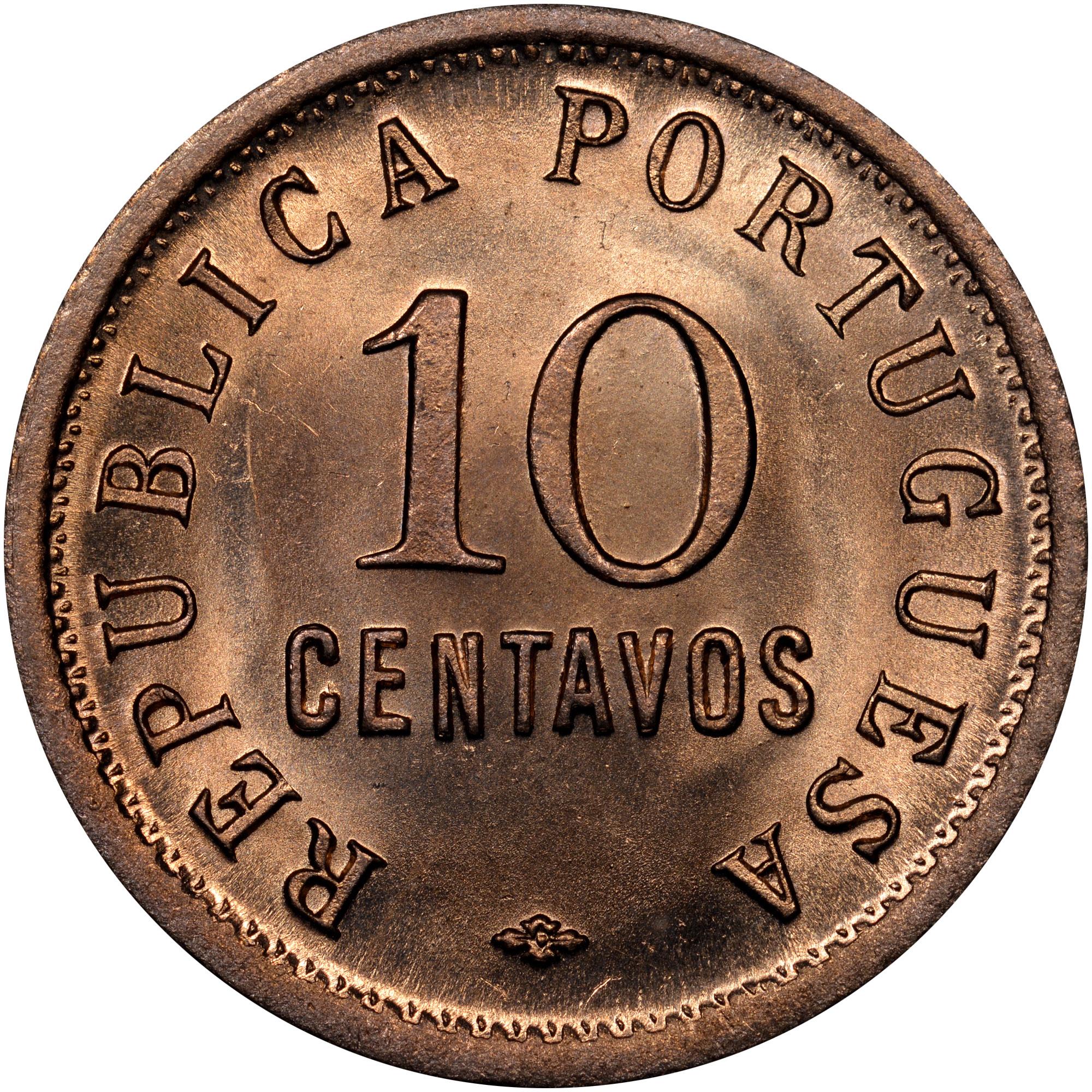 1921-1923 Angola 10 Centavos obverse