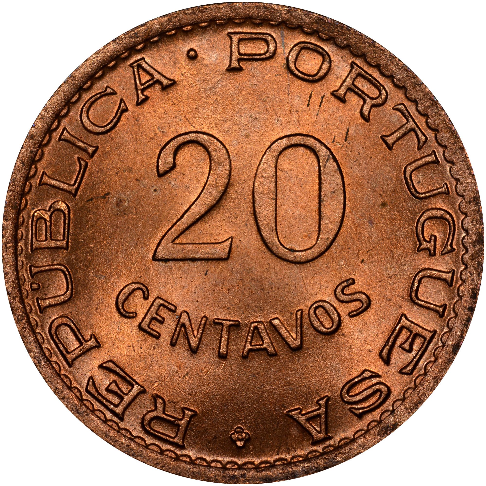 1948-1949 Angola 20 Centavos obverse