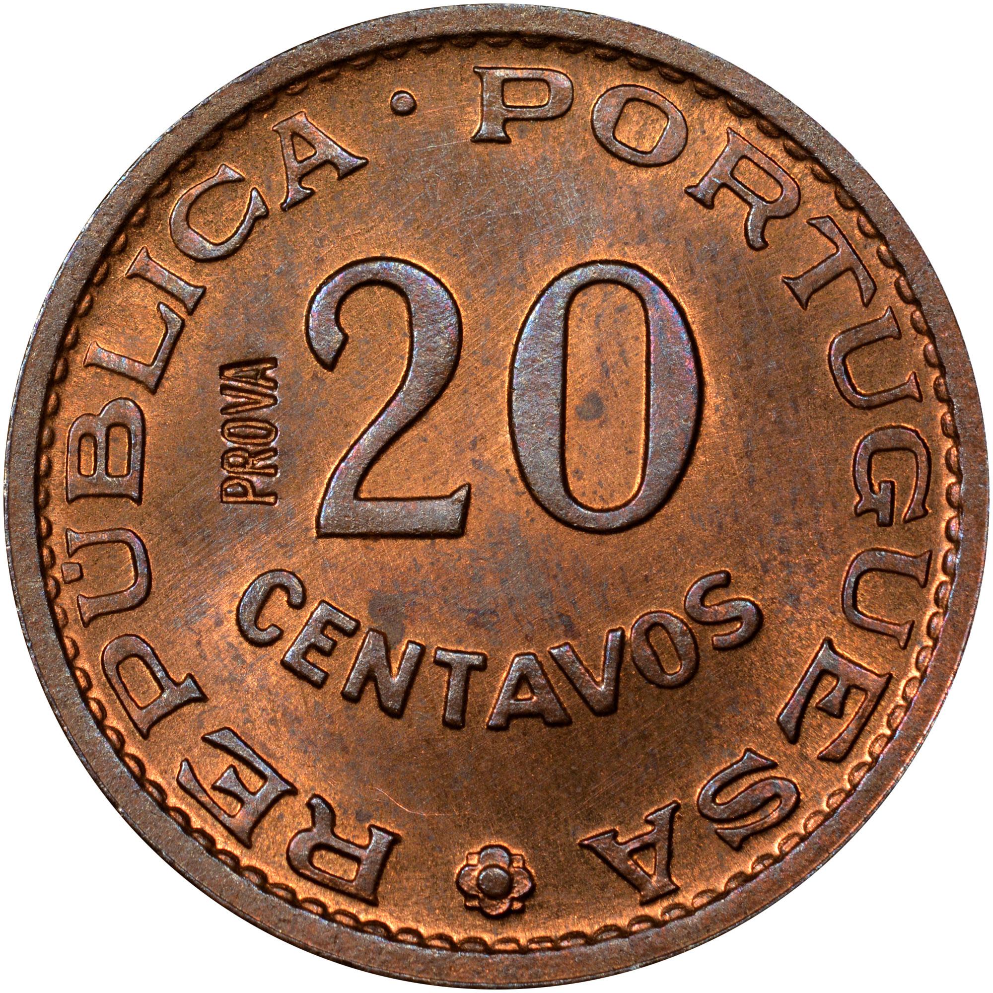 1962 Angola 20 Centavos obverse