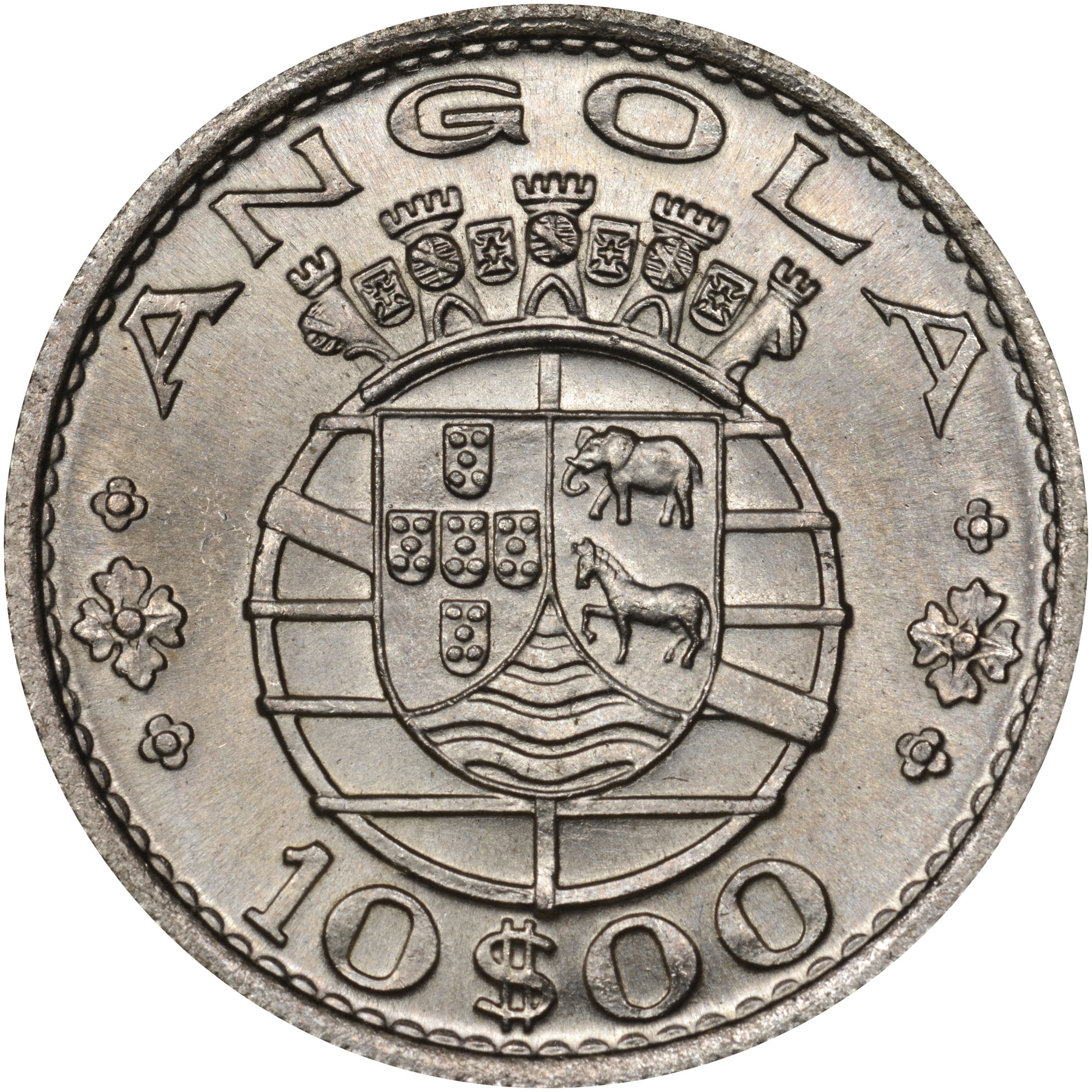 1955 Angola 10 Escudos reverse