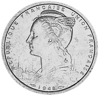 French Somaliland 2 Francs obverse