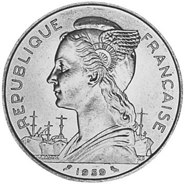 French Somaliland 5 Francs obverse