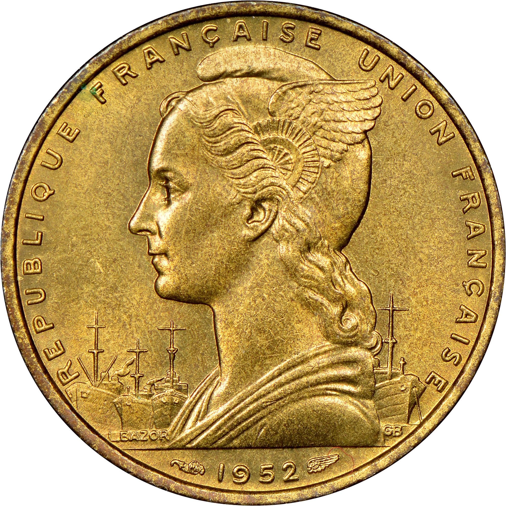 French Somaliland 20 Francs obverse
