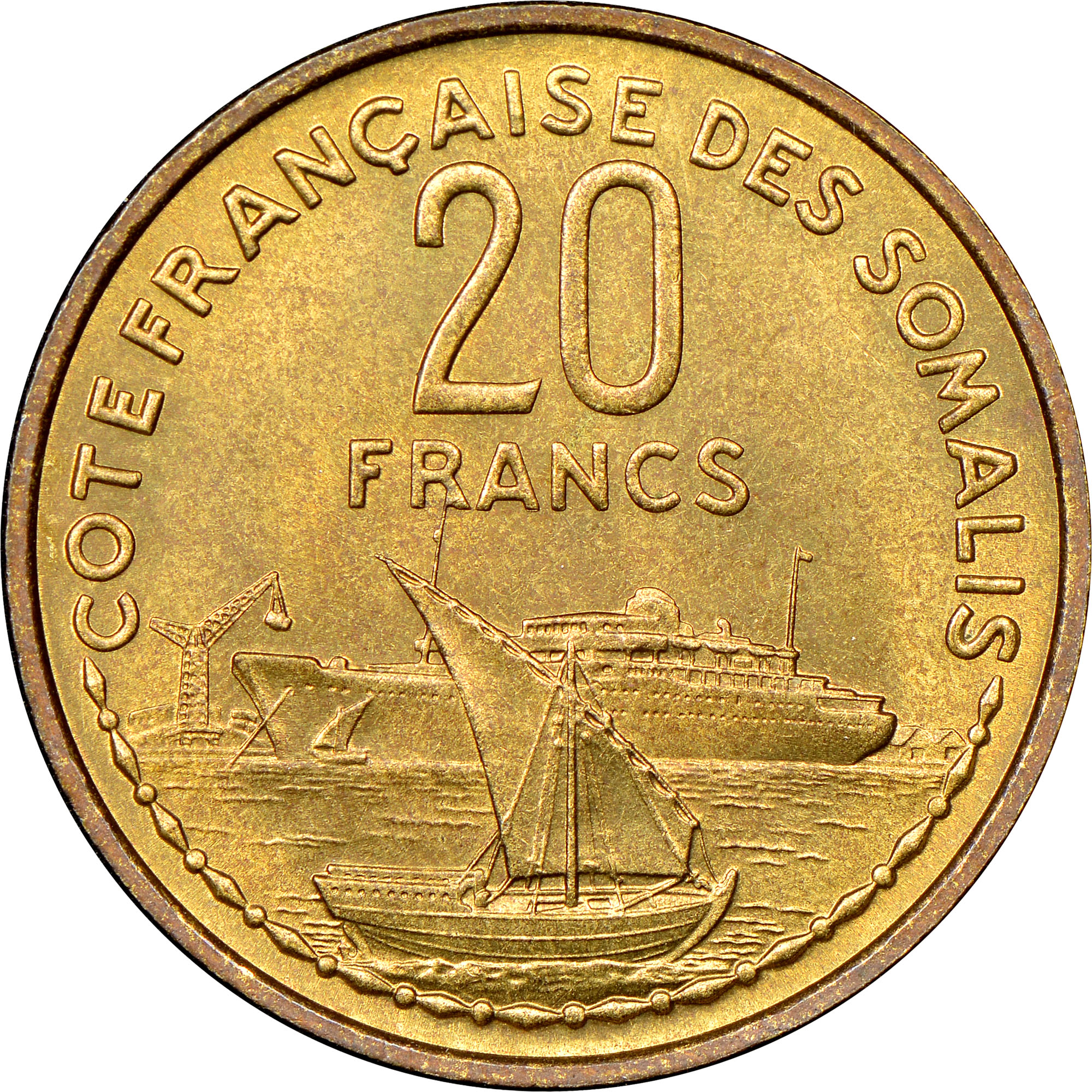 French Somaliland 20 Francs reverse