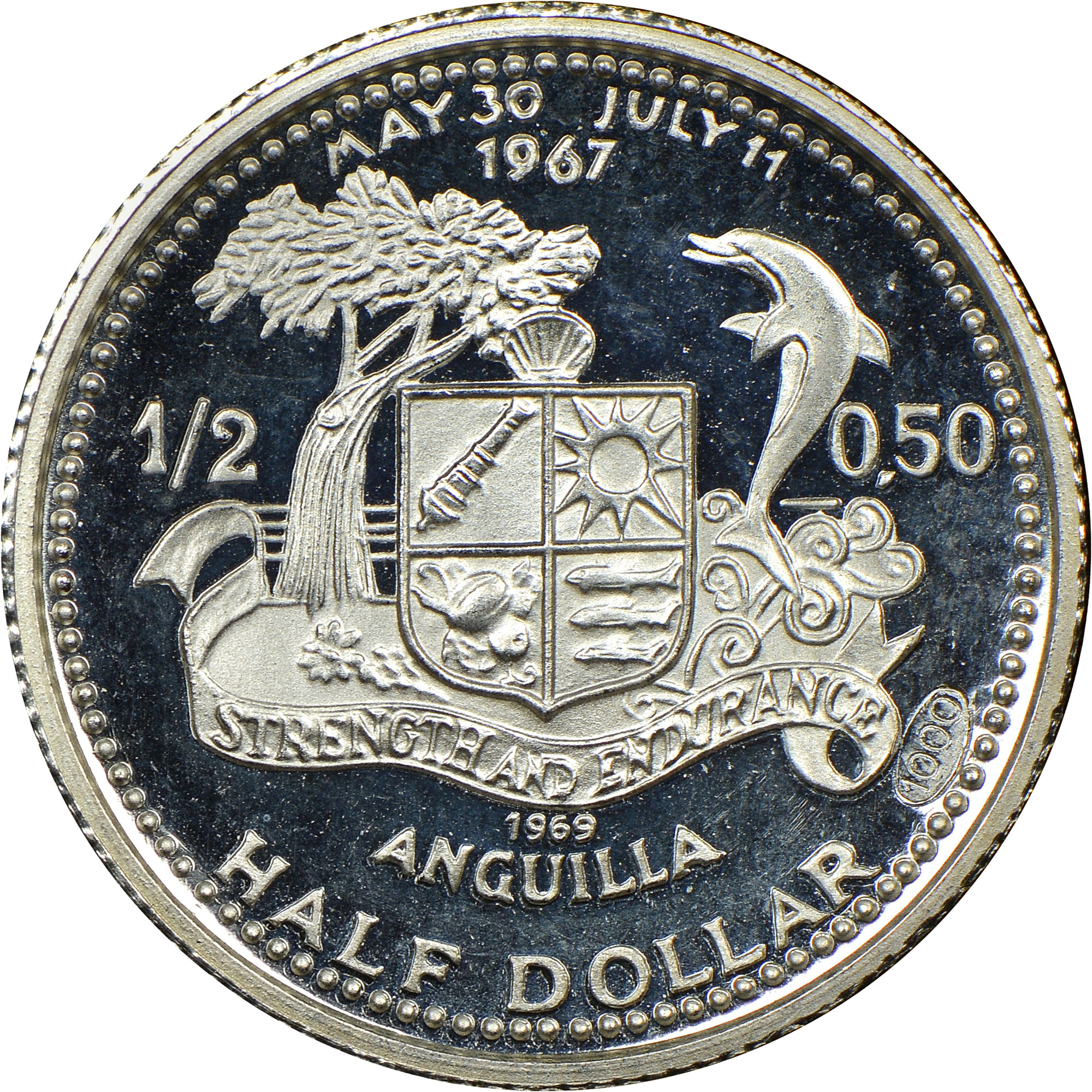 1969-ND Anguilla 1/2 Dollar reverse