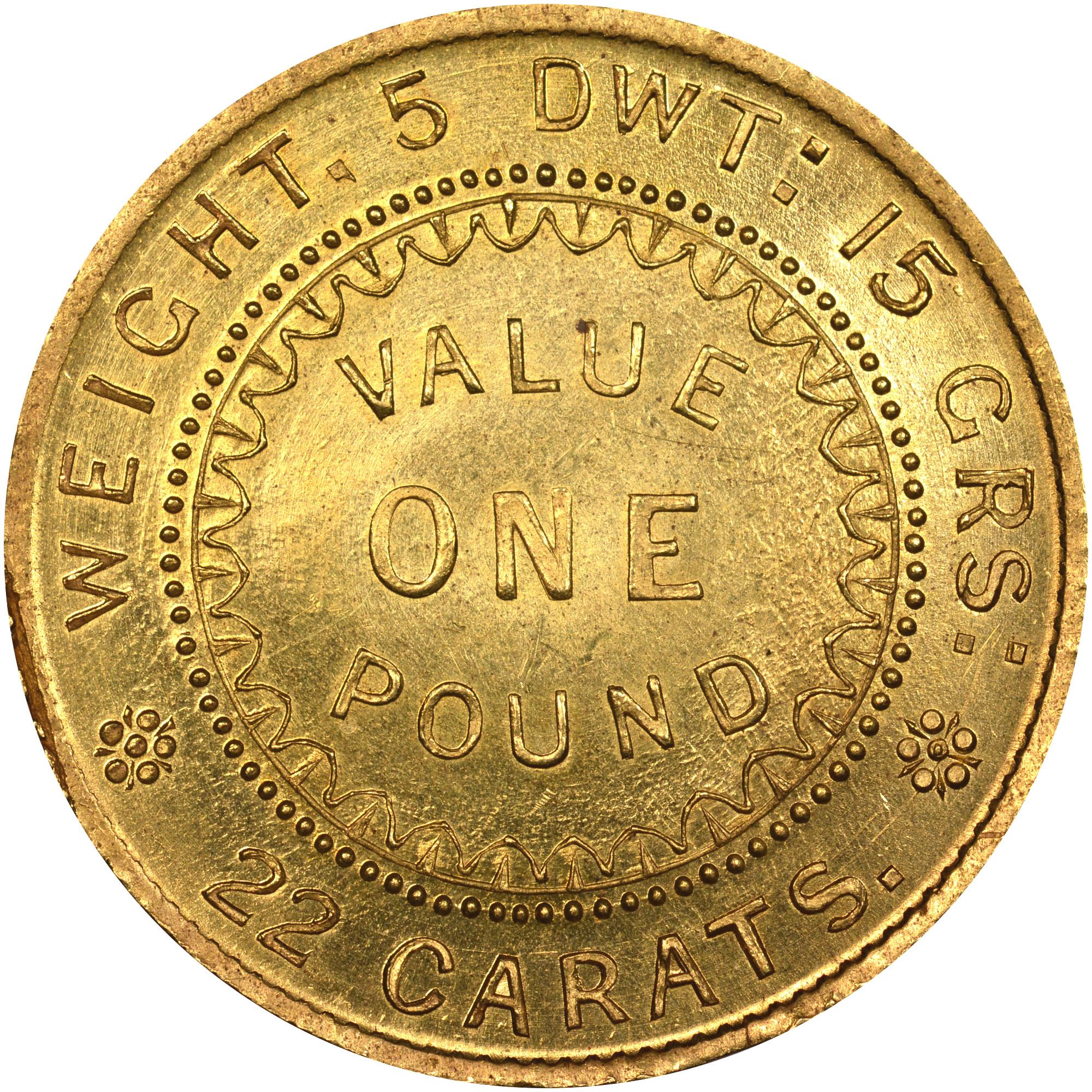 1852 Australia SOUTH AUSTRALIA Adelaide Pound reverse