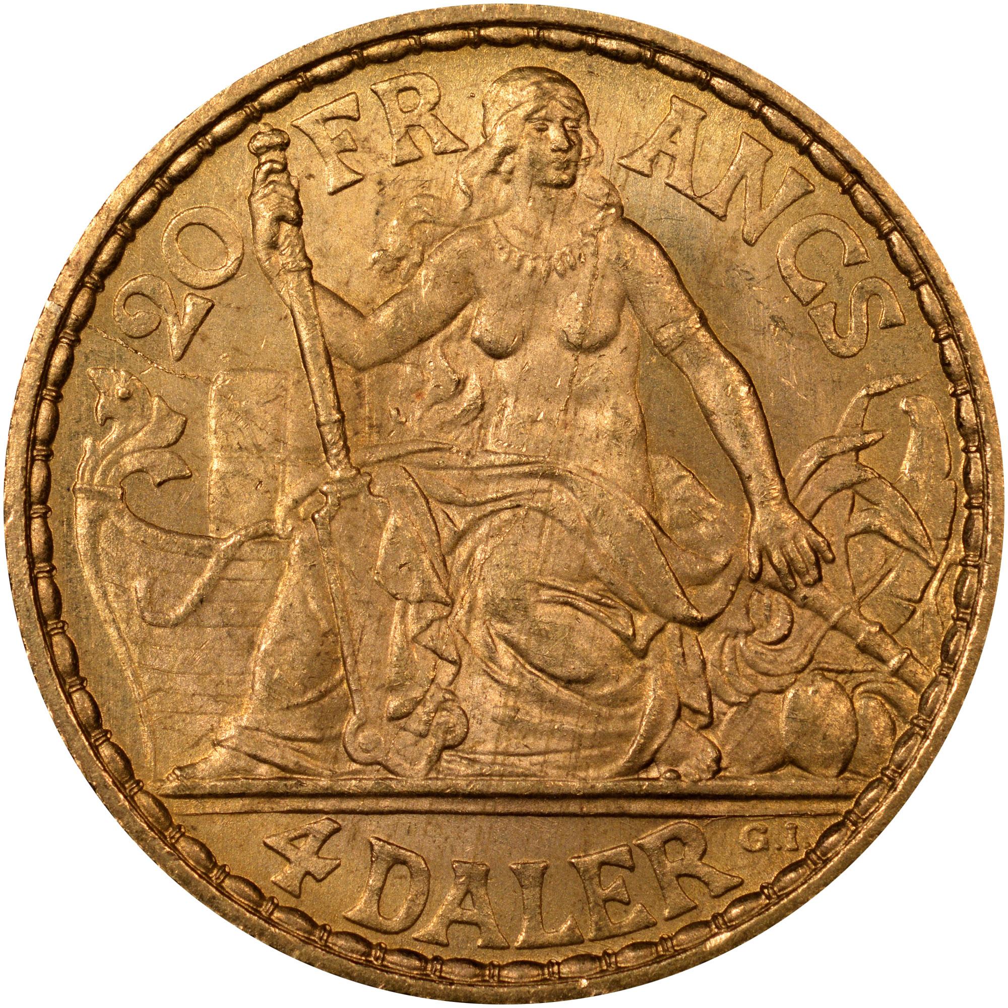 1904-1905 Danish West Indies 4 Daler, 20 Francs reverse