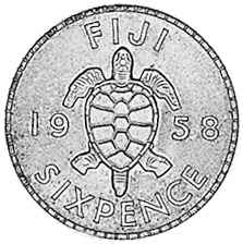 1953-1967 Fiji Sixpence reverse