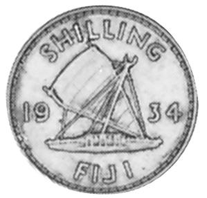 1934-1936 Fiji Shilling reverse