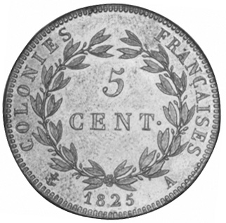 French Colonies 5 Centimes reverse