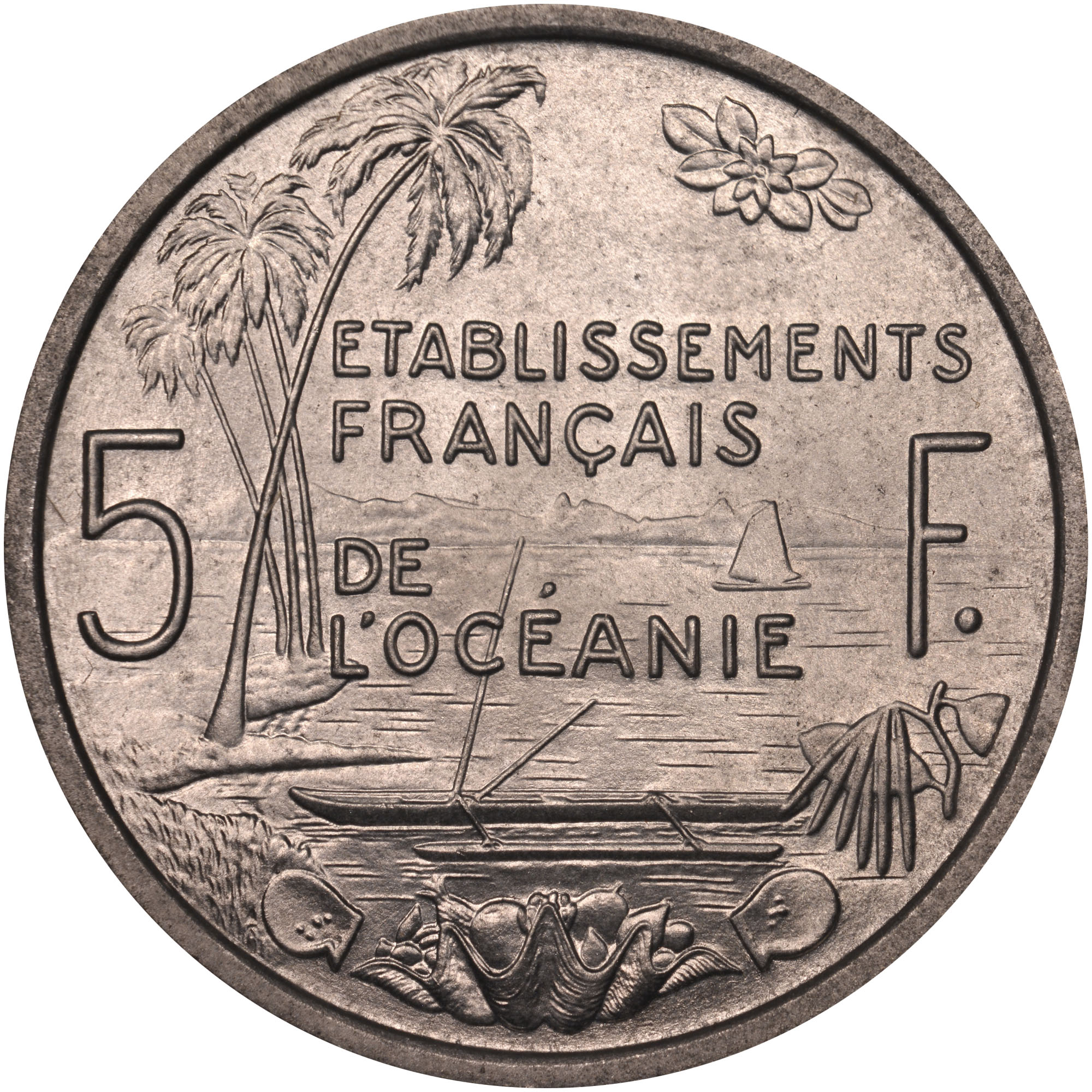 French Oceania 5 Francs reverse