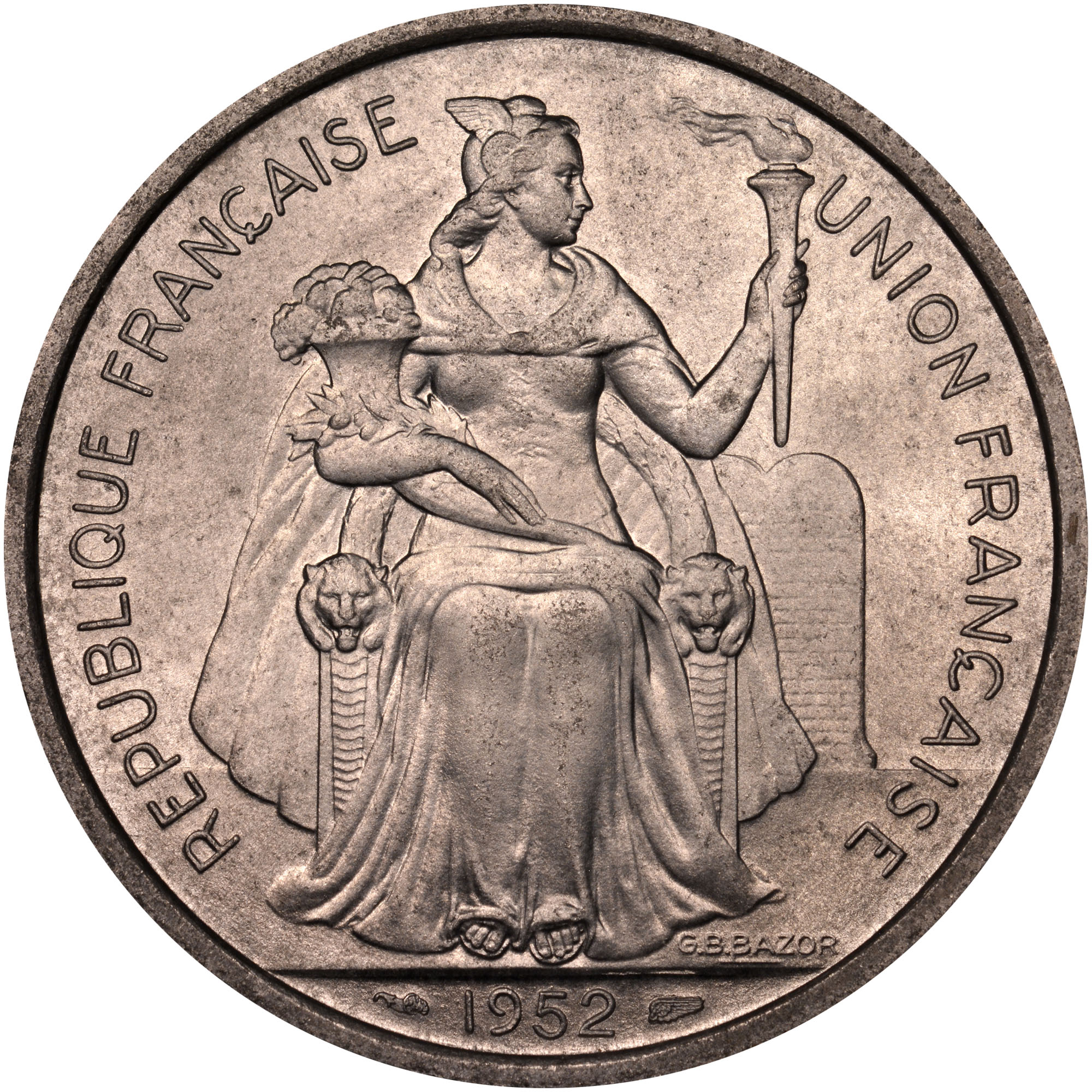 French Oceania 5 Francs obverse
