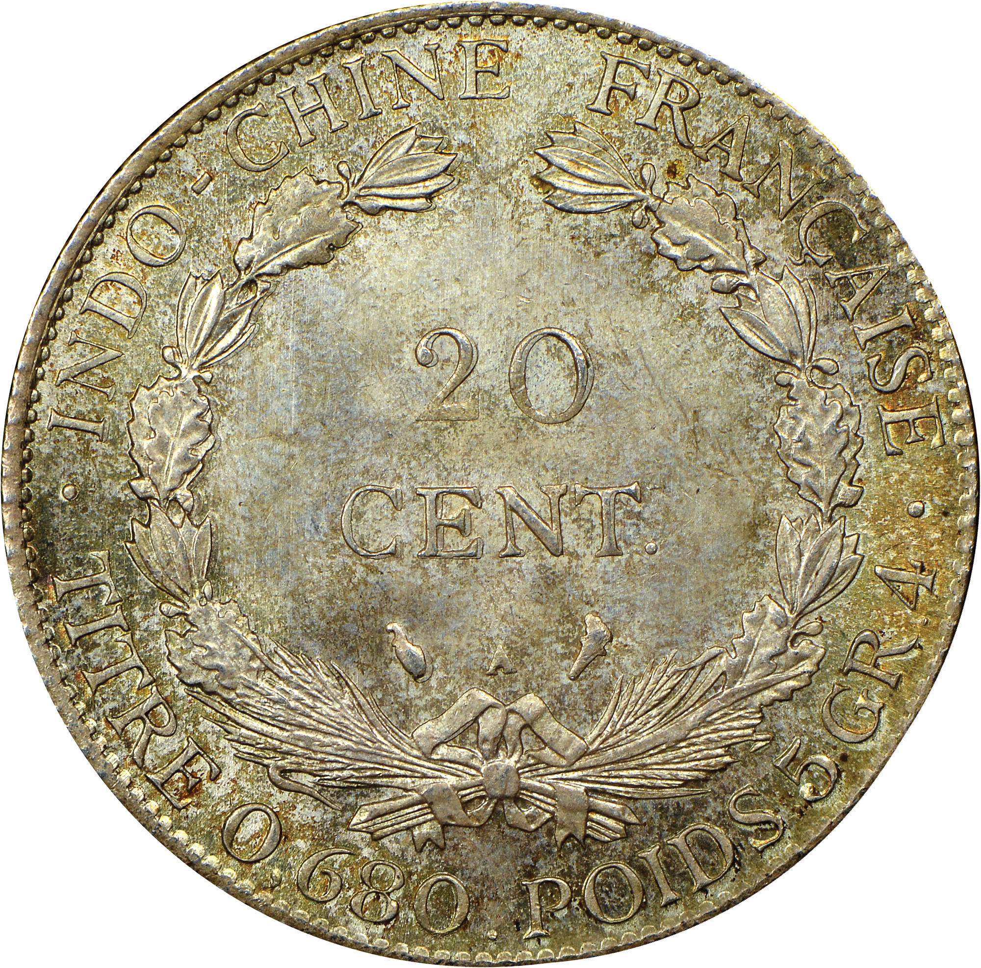 French Indo-China 20 Cents reverse