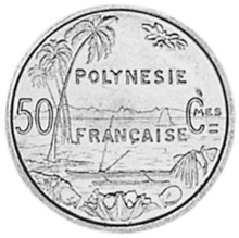 French Polynesia 50 Centimes reverse