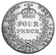 1891-1901 Guyana 4 Pence reverse