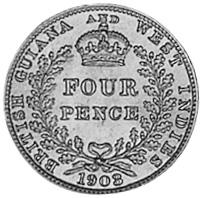 1903-1910 Guyana 4 Pence reverse