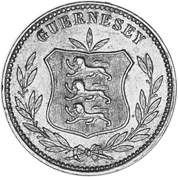 1864-1911 Guernsey 8 Doubles obverse