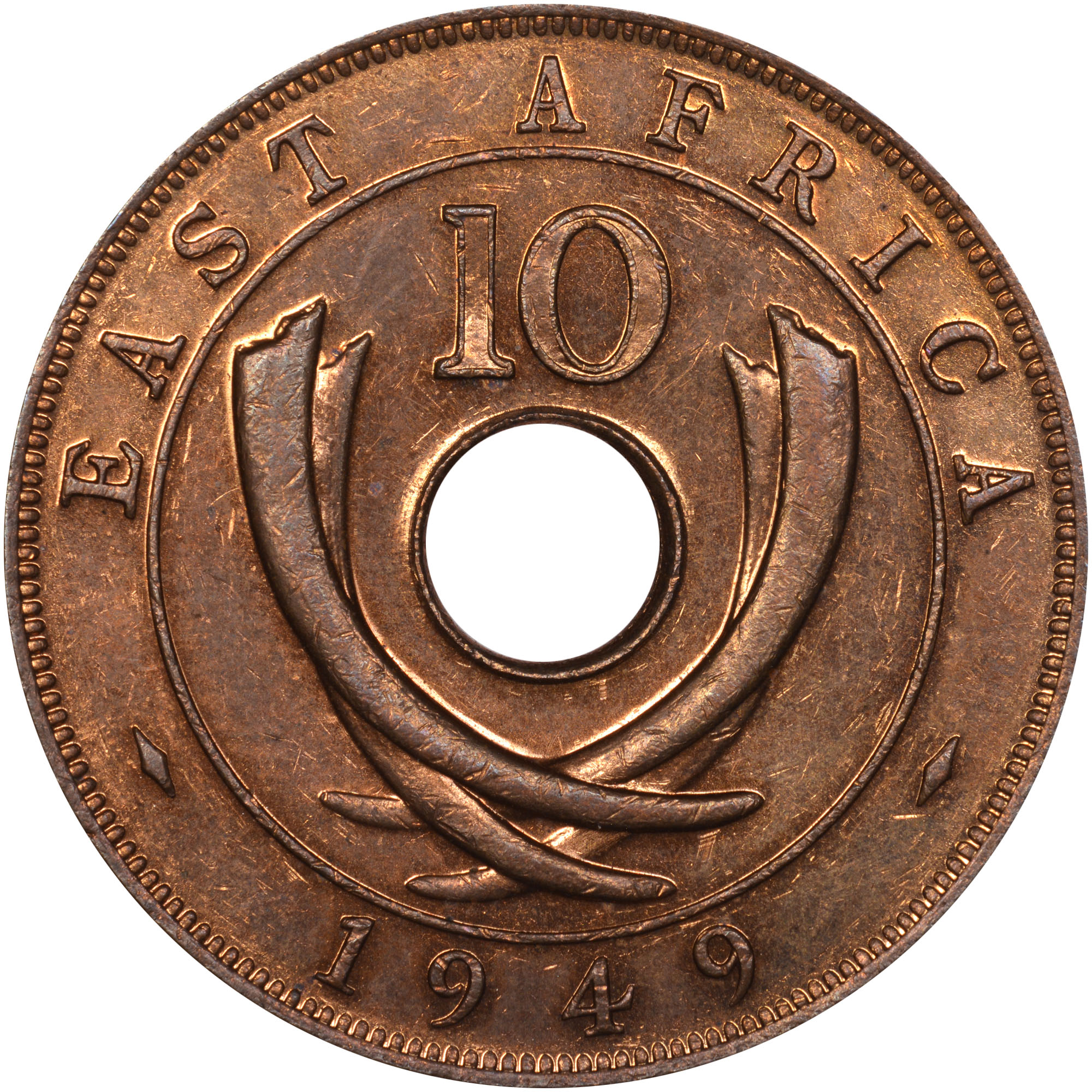 East Africa 10 Cents reverse