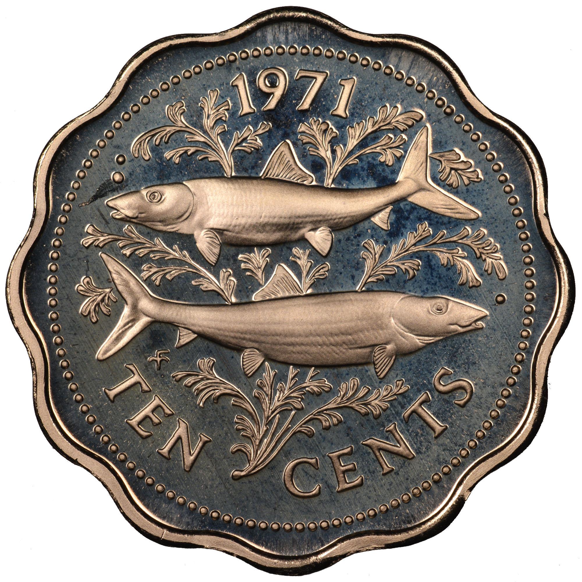 1971-1973 Bahamas 10 Cents reverse