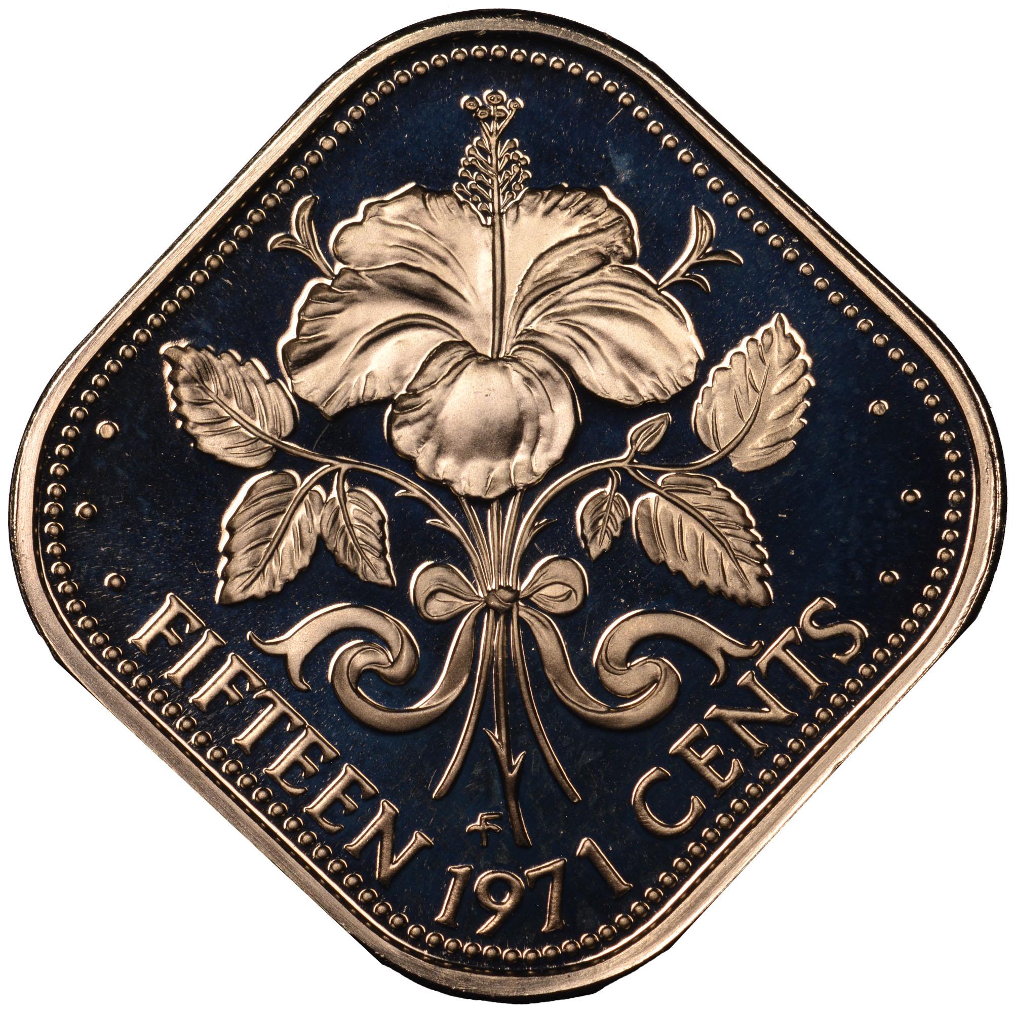 1971-1973 Bahamas 15 Cents reverse
