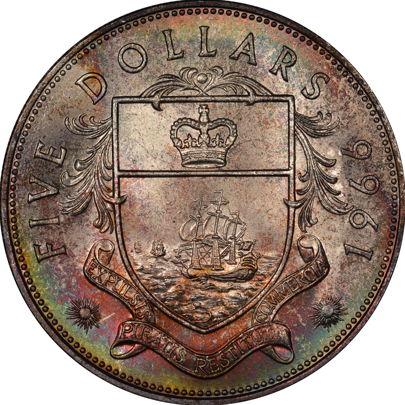 1966-1970 Bahamas 5 Dollars reverse