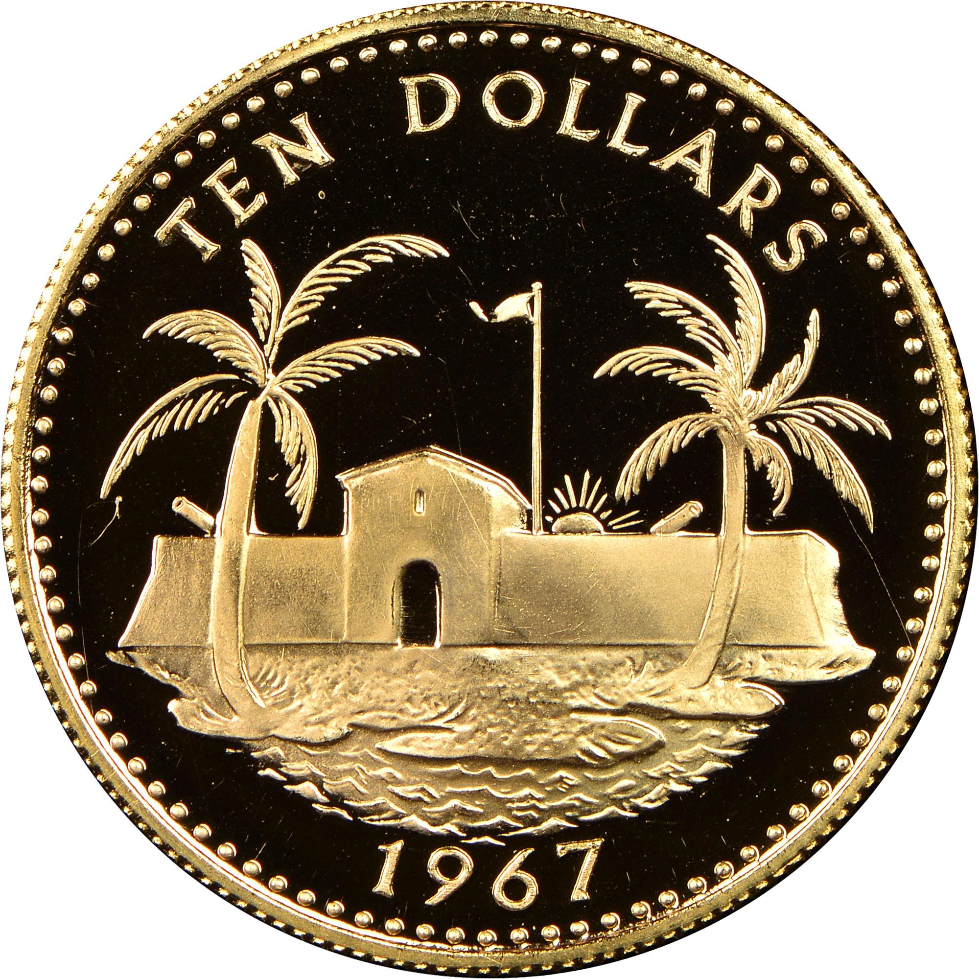 1967 Bahamas 10 Dollars reverse