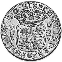 1732-1741 Mexico 2 Reales obverse