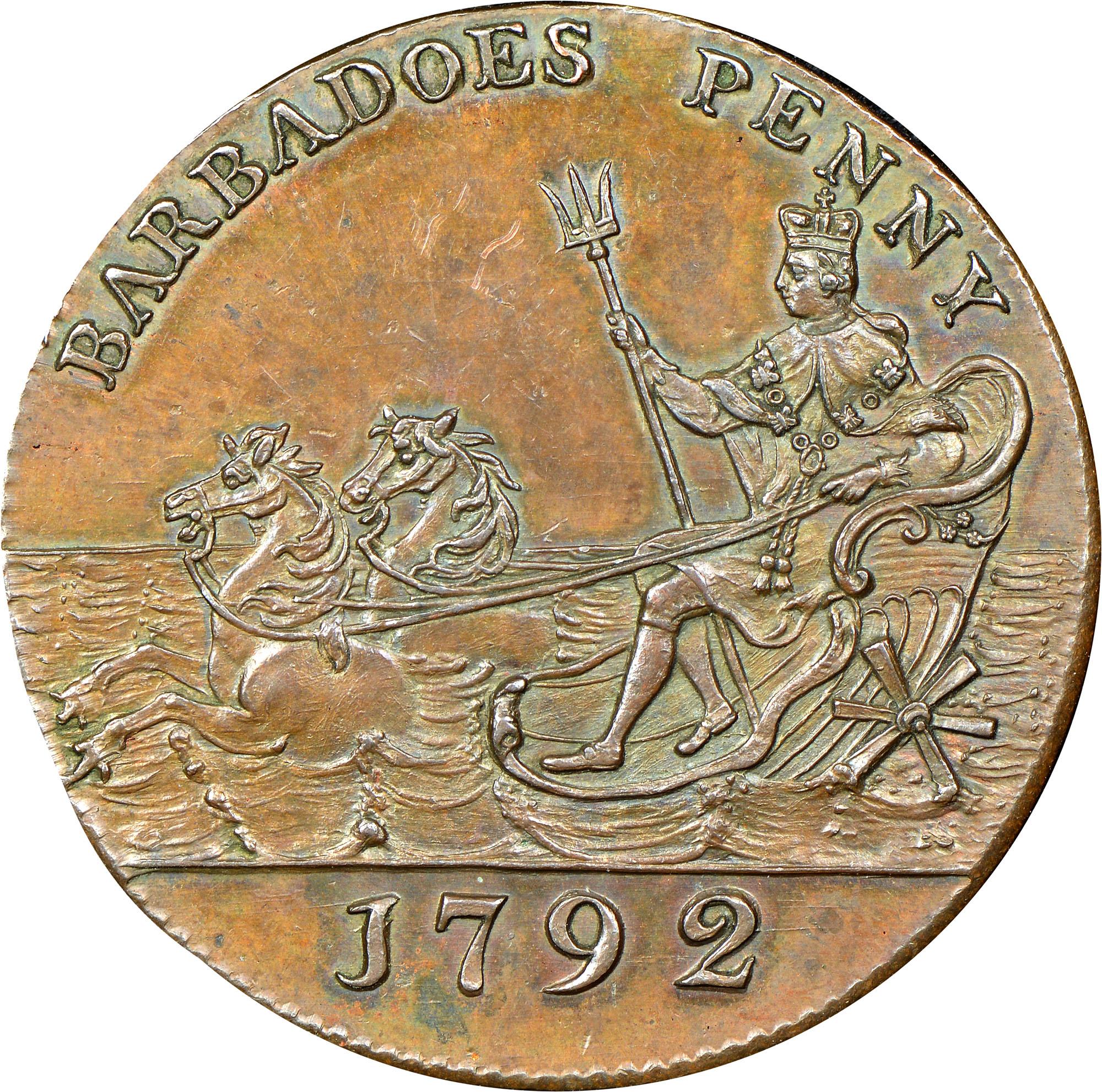 1792 Barbados Penny obverse