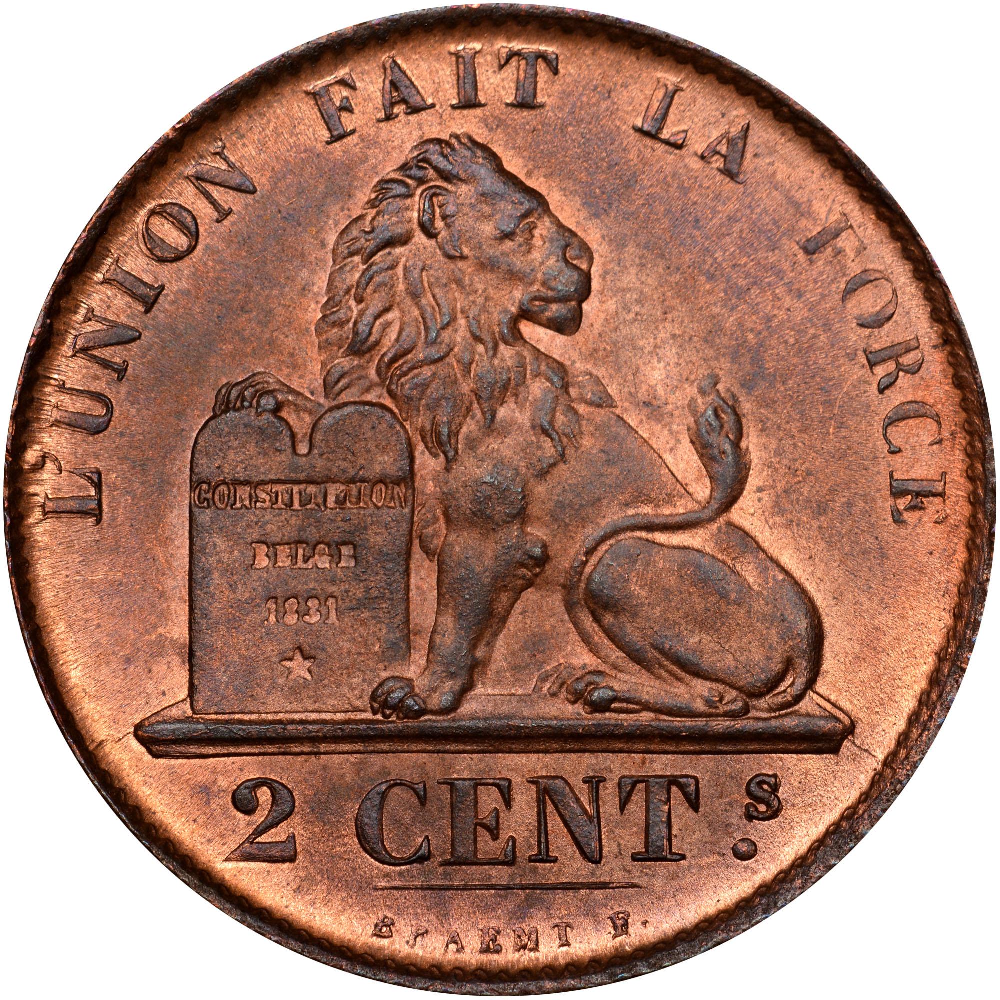.1835.-1865 Belgium 2 Centimes reverse