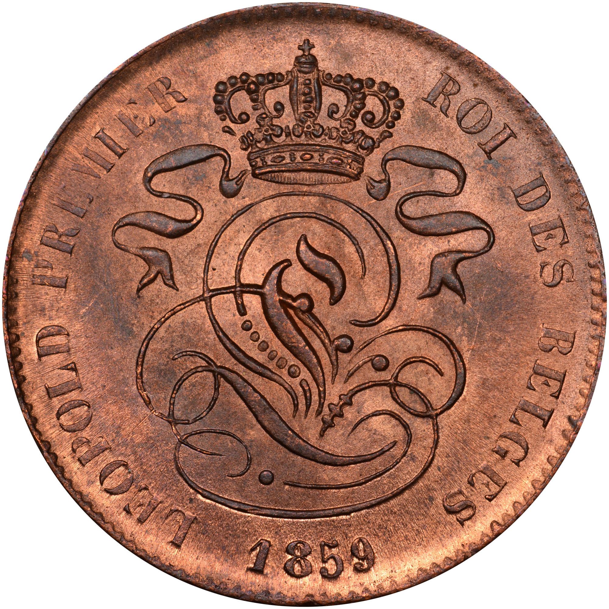 .1835.-1865 Belgium 2 Centimes obverse
