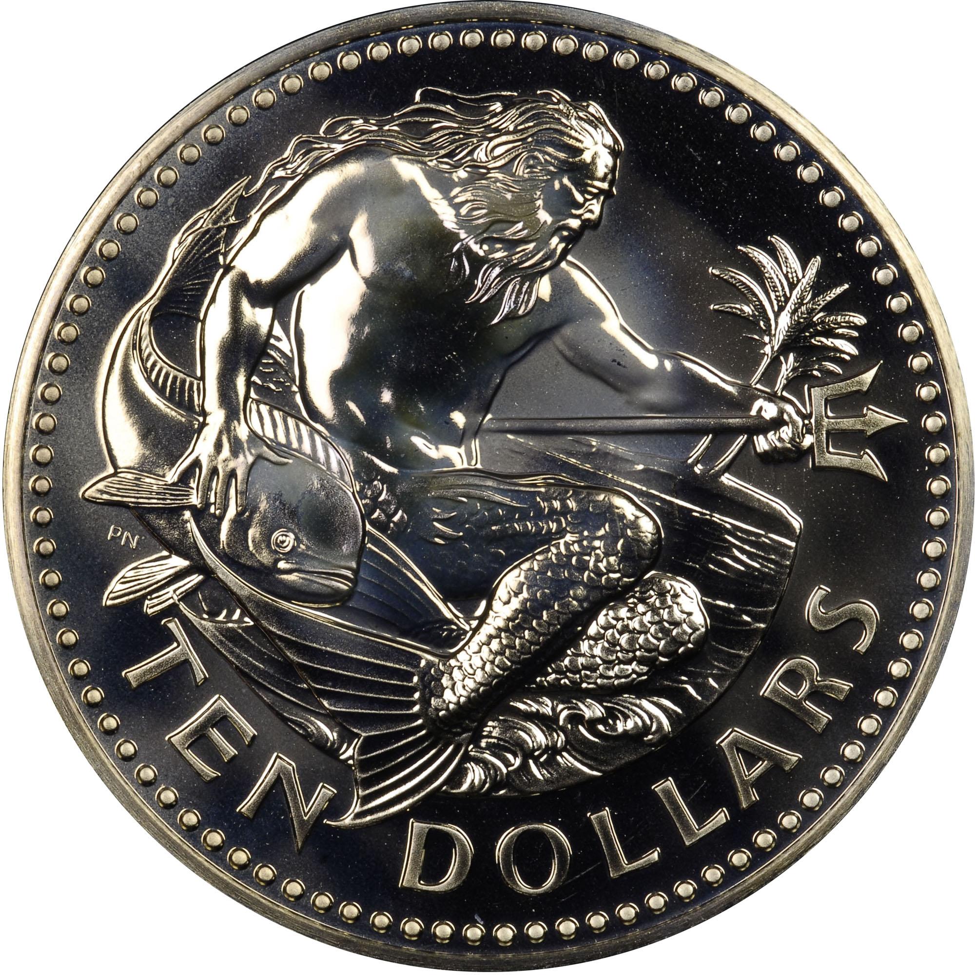 1974-1981 Barbados 10 Dollars reverse