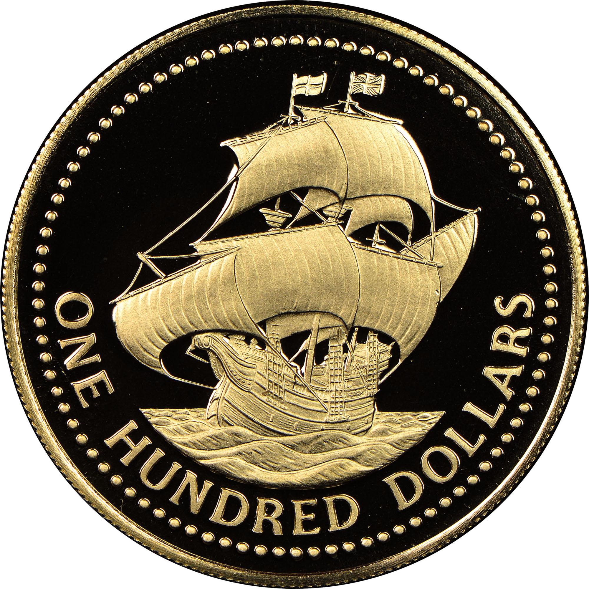 (1975) Barbados 100 Dollars reverse