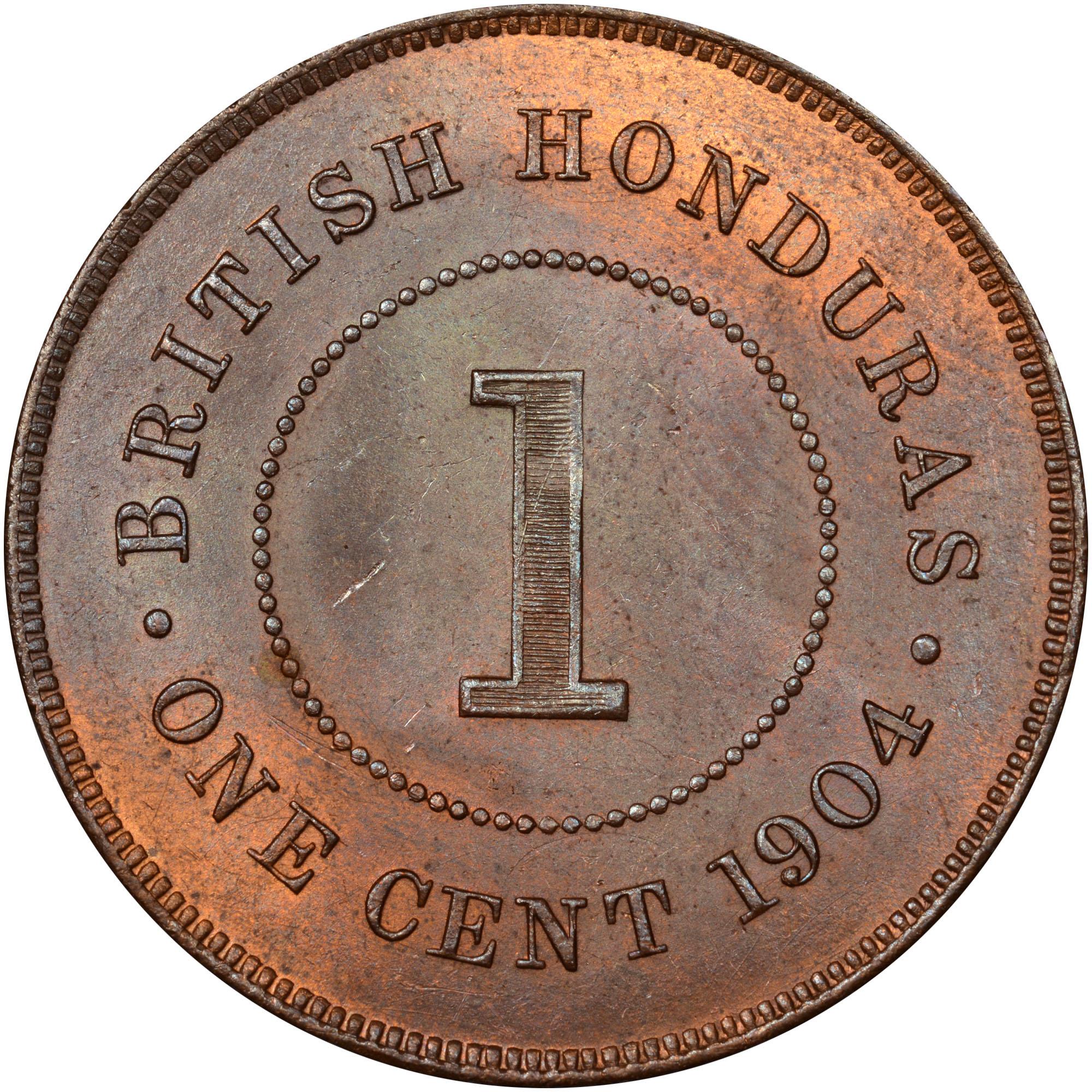 1904-1909 British Honduras Cent reverse