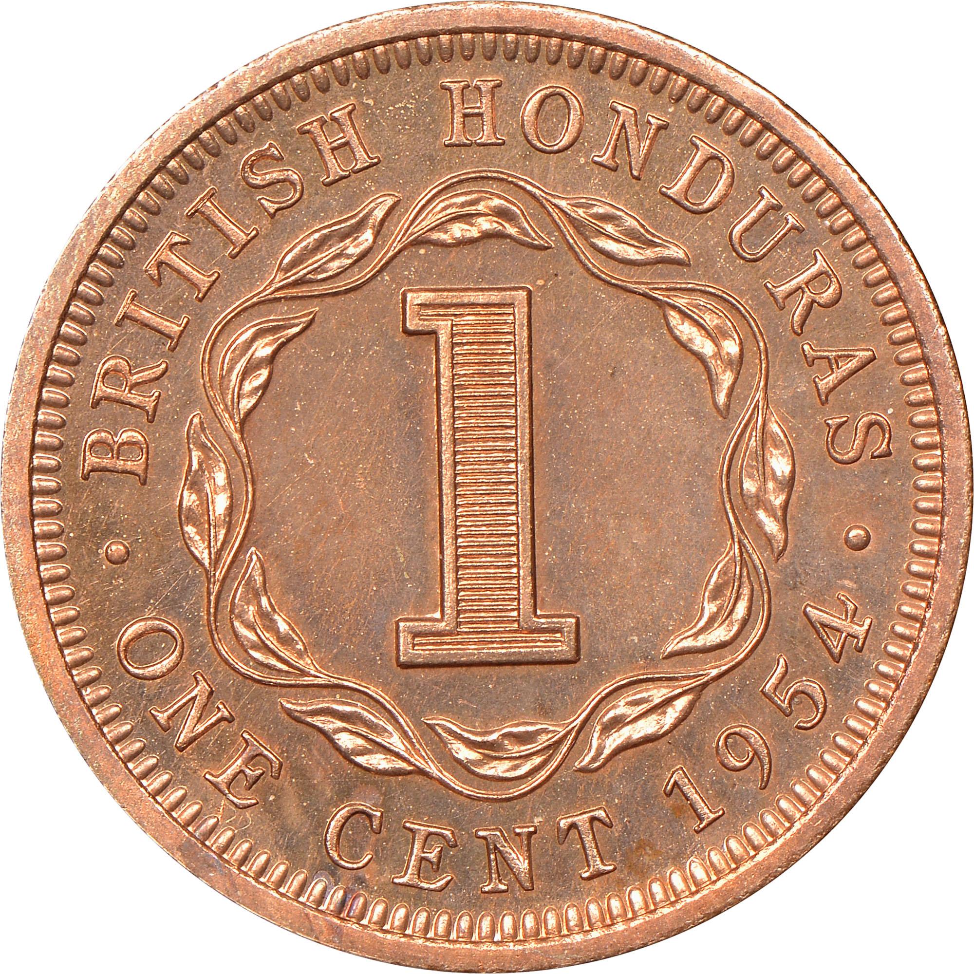 1954 British Honduras Cent reverse