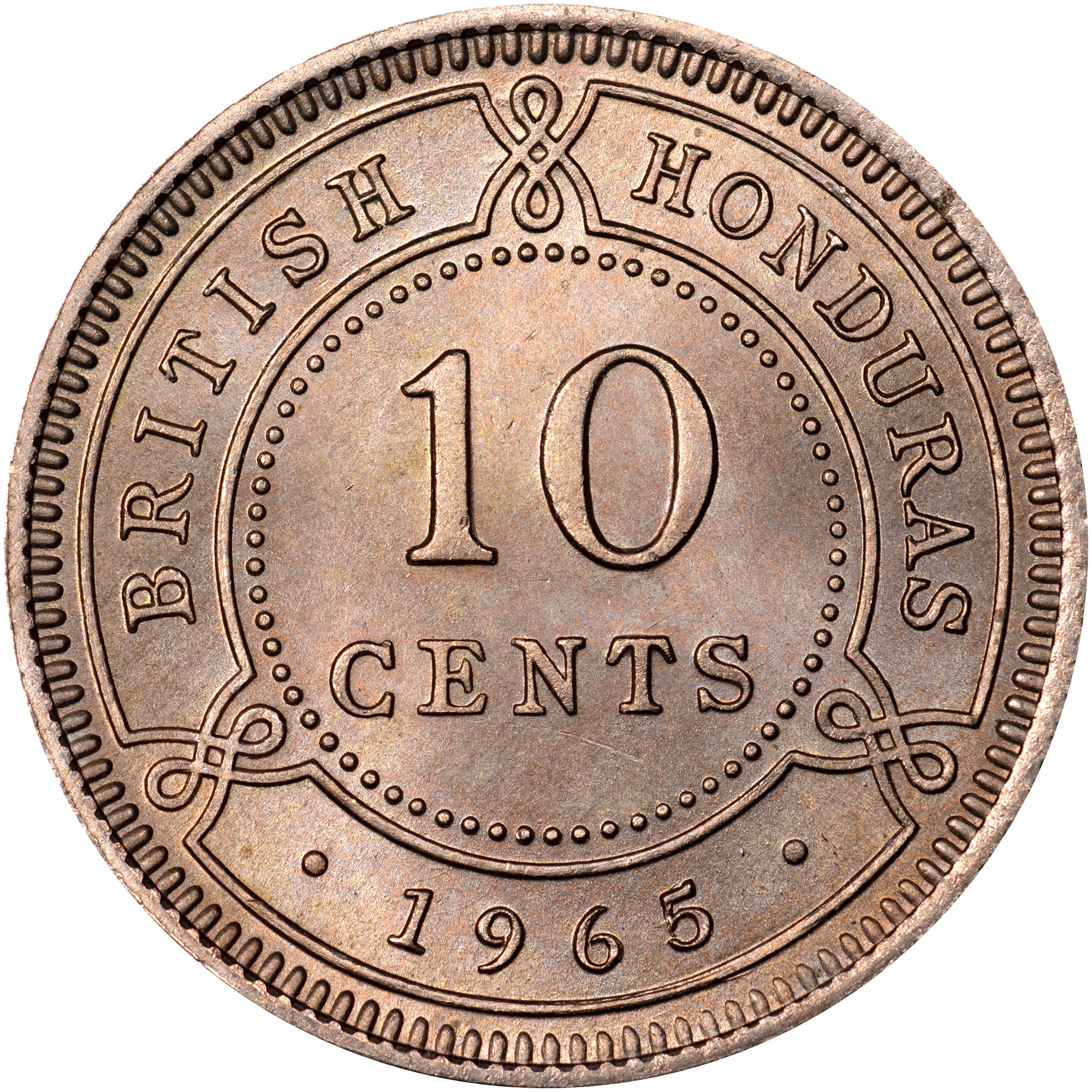 1956-1970 British Honduras 10 Cents reverse