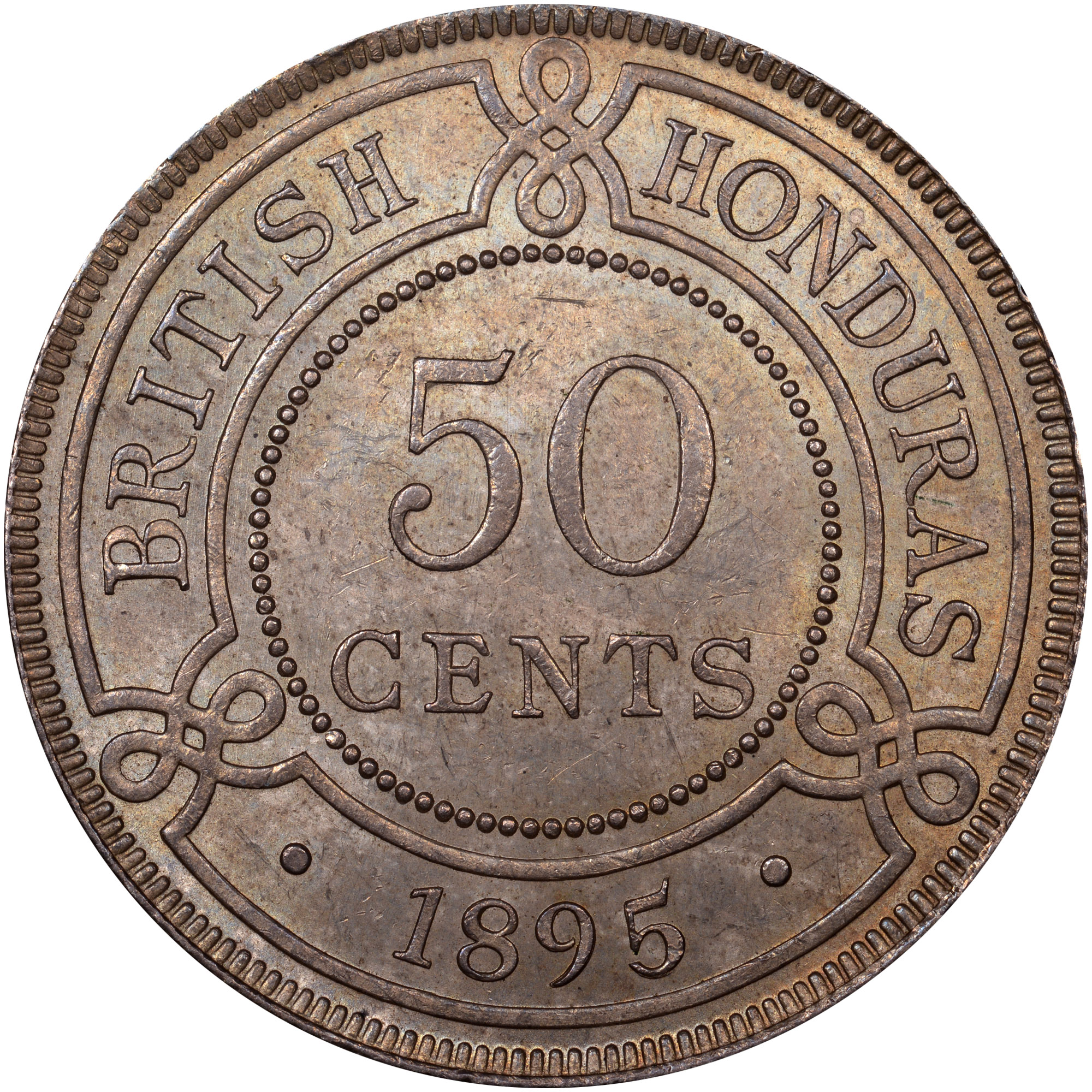 1894-1901 British Honduras 50 Cents reverse