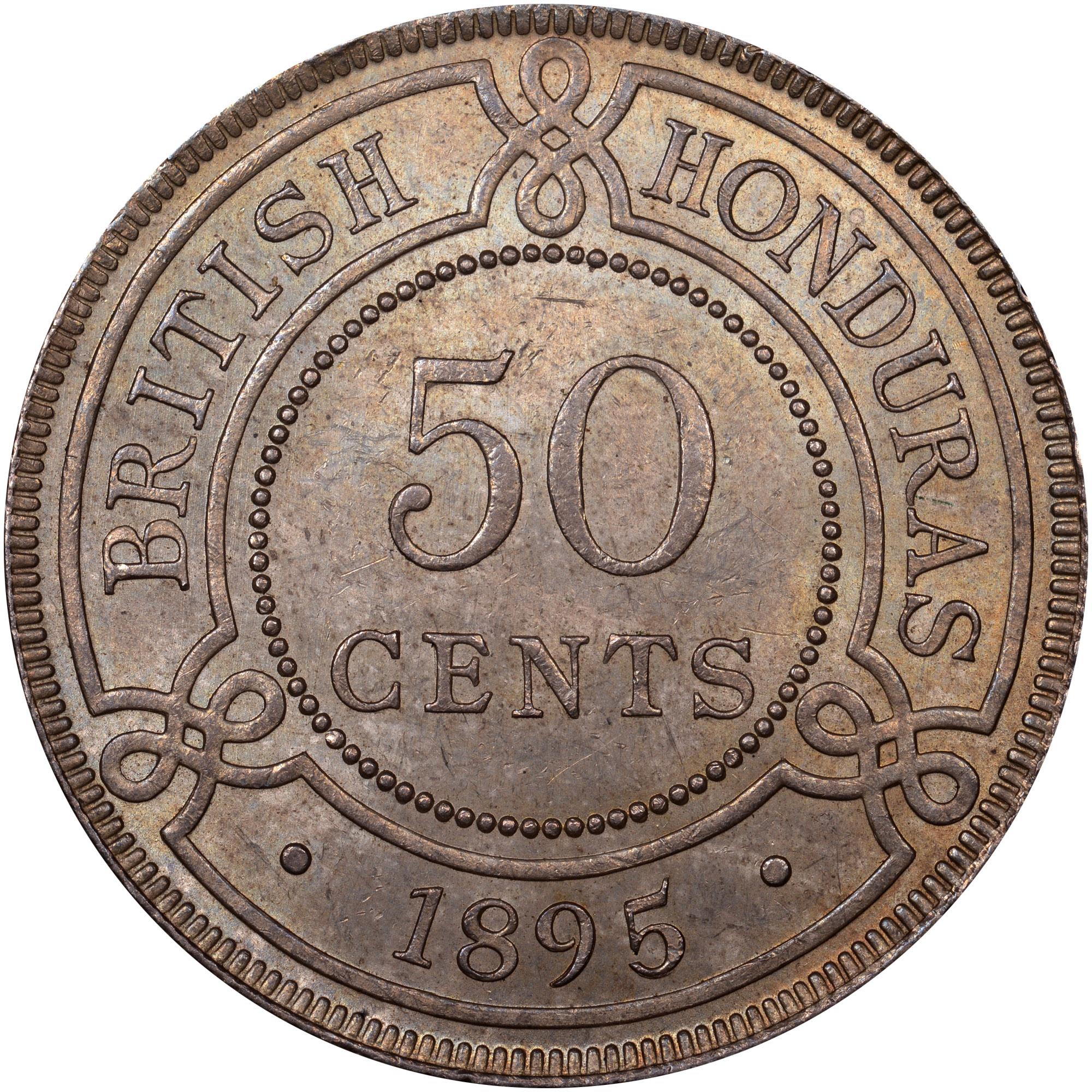 1894-1901 British Honduras 50 Cents reverse